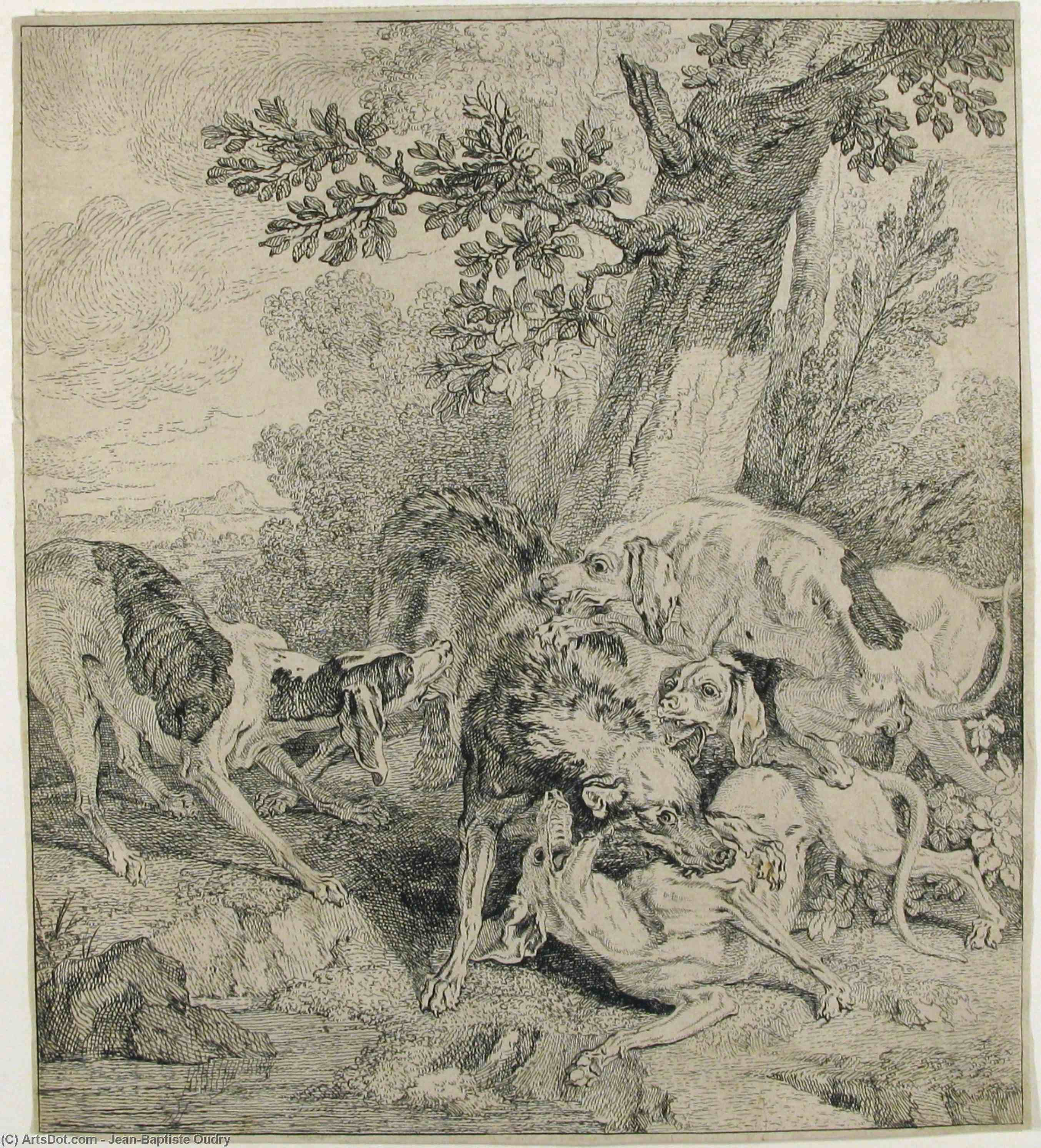 A Pack of Dogs Attacking a Boar by Jean-Baptiste Oudry (1686-1755, France) | Museum Art Reproductions | ArtsDot.com