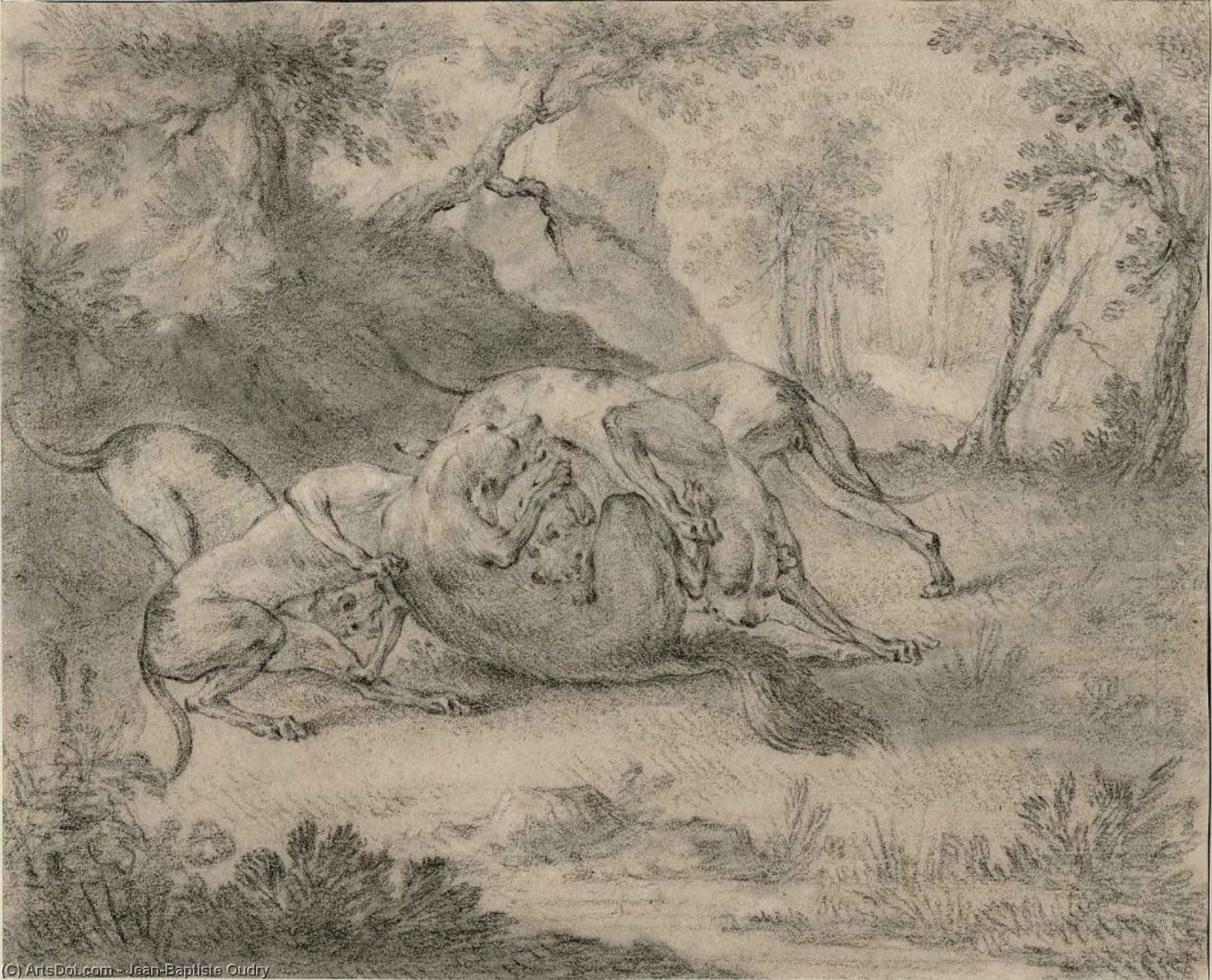 Four Dogs and a Wolf by Jean-Baptiste Oudry (1686-1755, France) | Museum Art Reproductions | ArtsDot.com