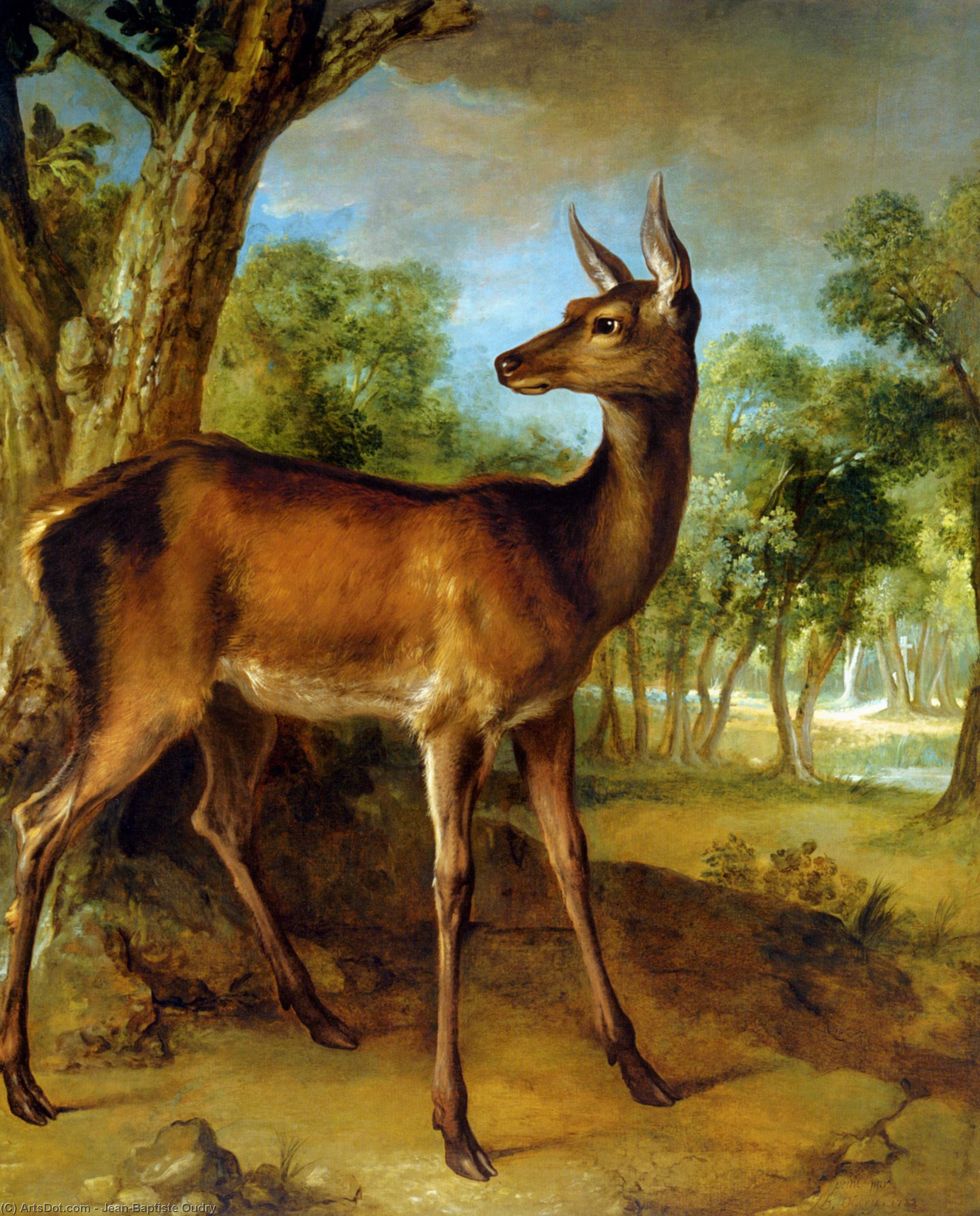 The Watchful Doe by Jean-Baptiste Oudry (1686-1755, France) | Museum Art Reproductions | ArtsDot.com