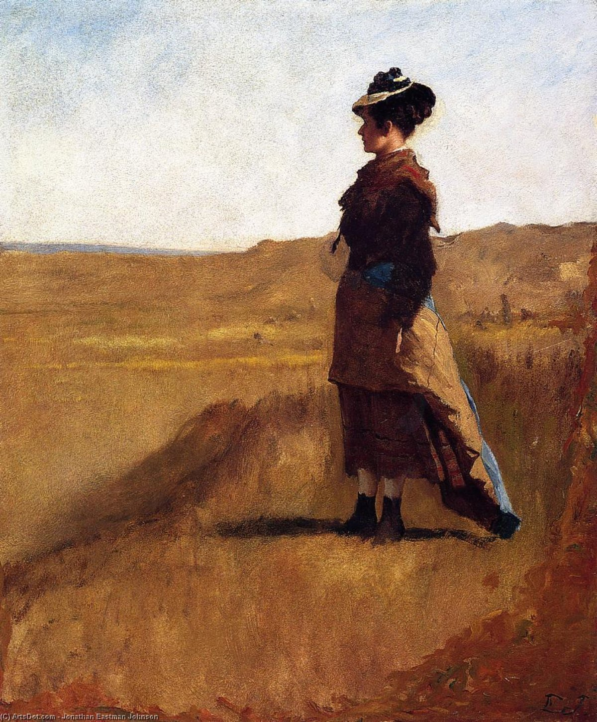 Woman on a Hill by Jonathan Eastman Johnson (1824-1906, United Kingdom) | Museum Art Reproductions | ArtsDot.com
