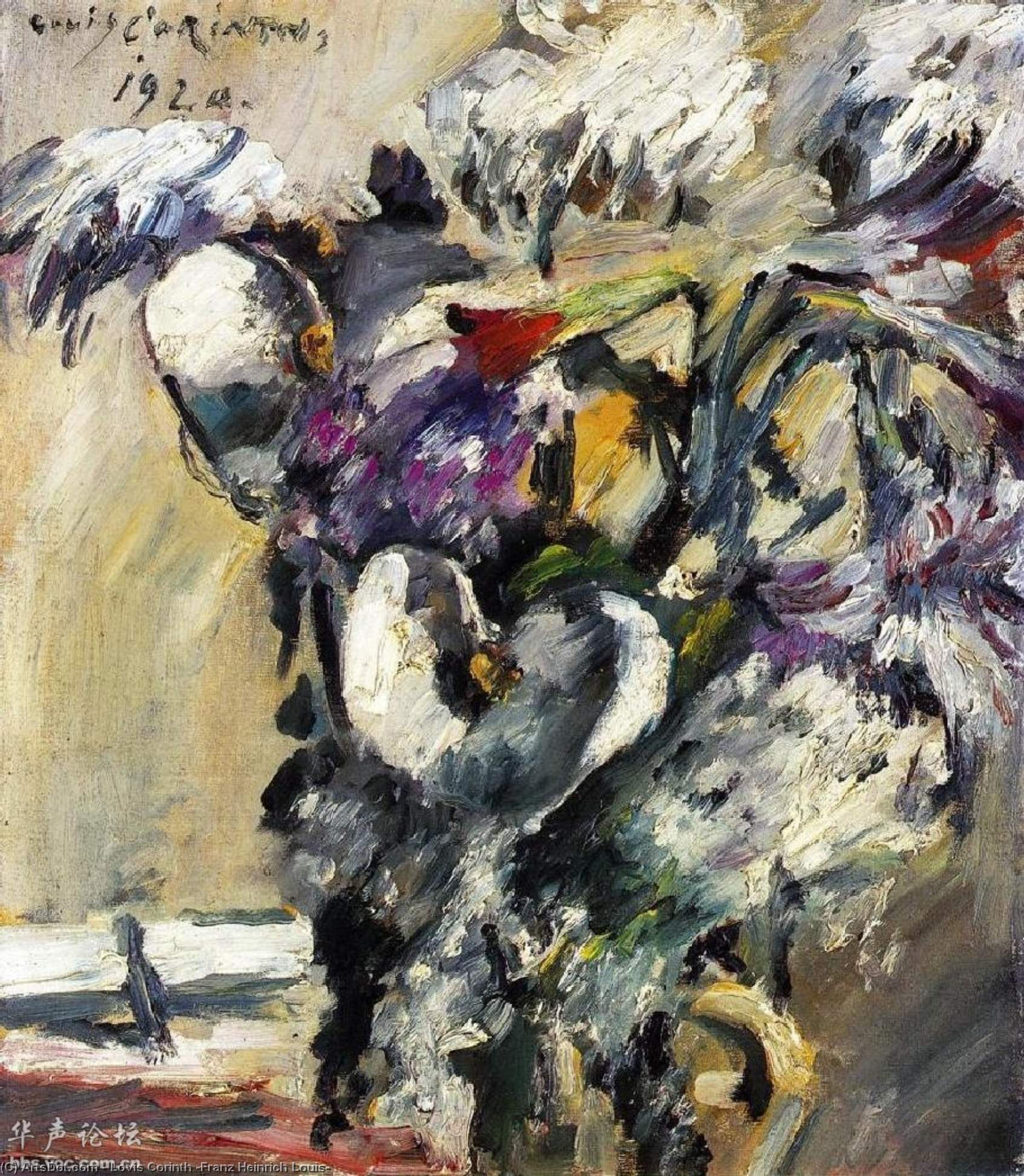 Chrysanthemms and Calla, 1920 by Lovis Corinth (Franz Heinrich Louis) (1858-1925, Netherlands) | Museum Art Reproductions | ArtsDot.com