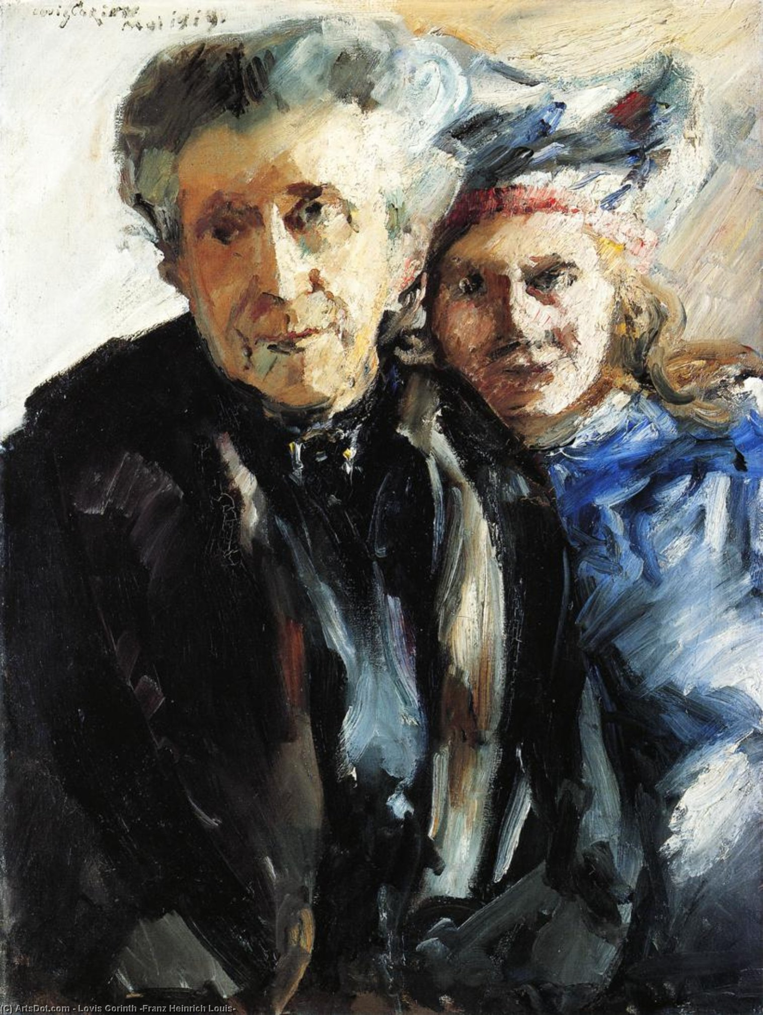Grandmother and Granddaughter, Oil On Canvas by Lovis Corinth (Franz Heinrich Louis) (1858-1925, Netherlands)