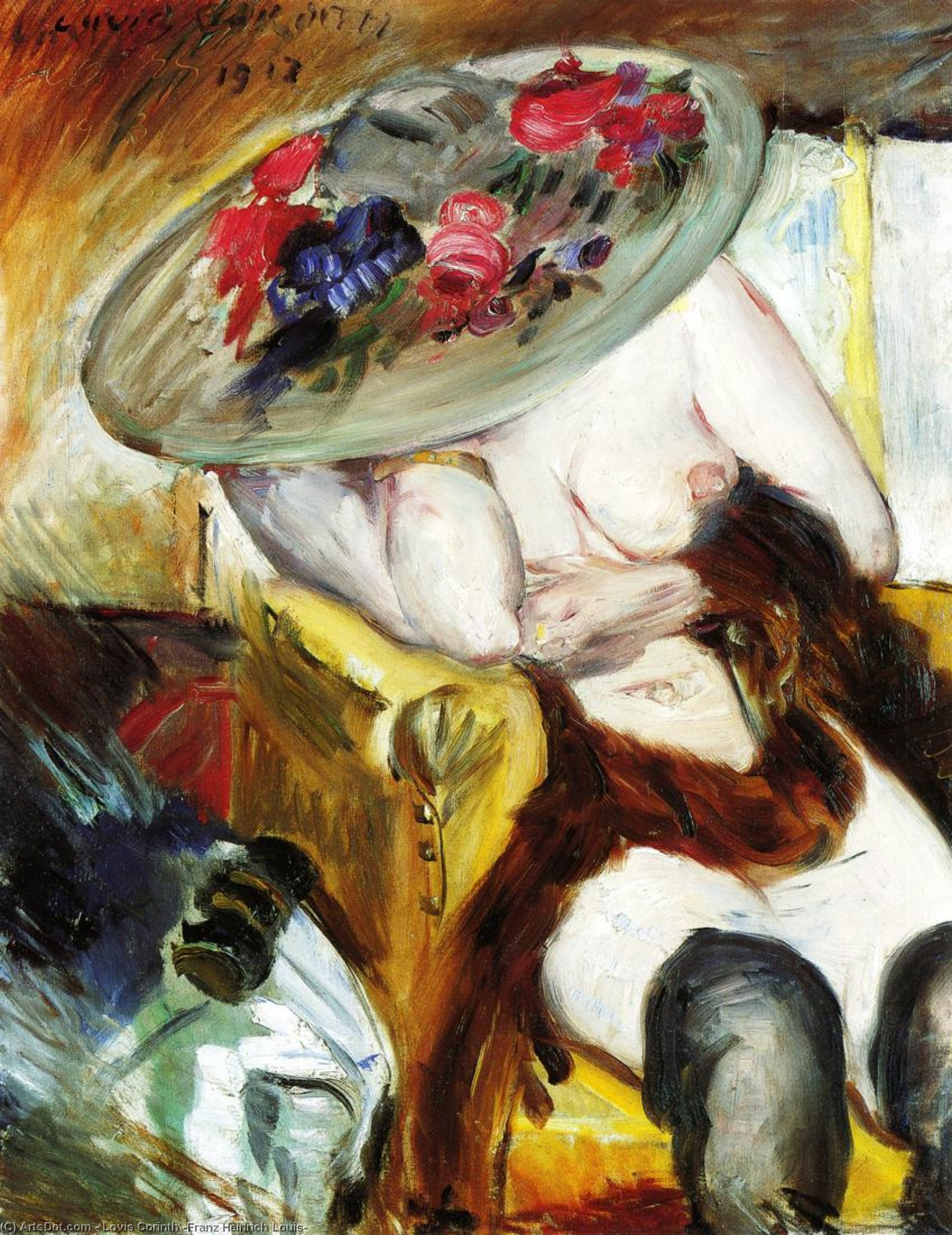 Italian Woman in a Yellow Chair, Oil On Canvas by Lovis Corinth (Franz Heinrich Louis) (1858-1925, Netherlands)