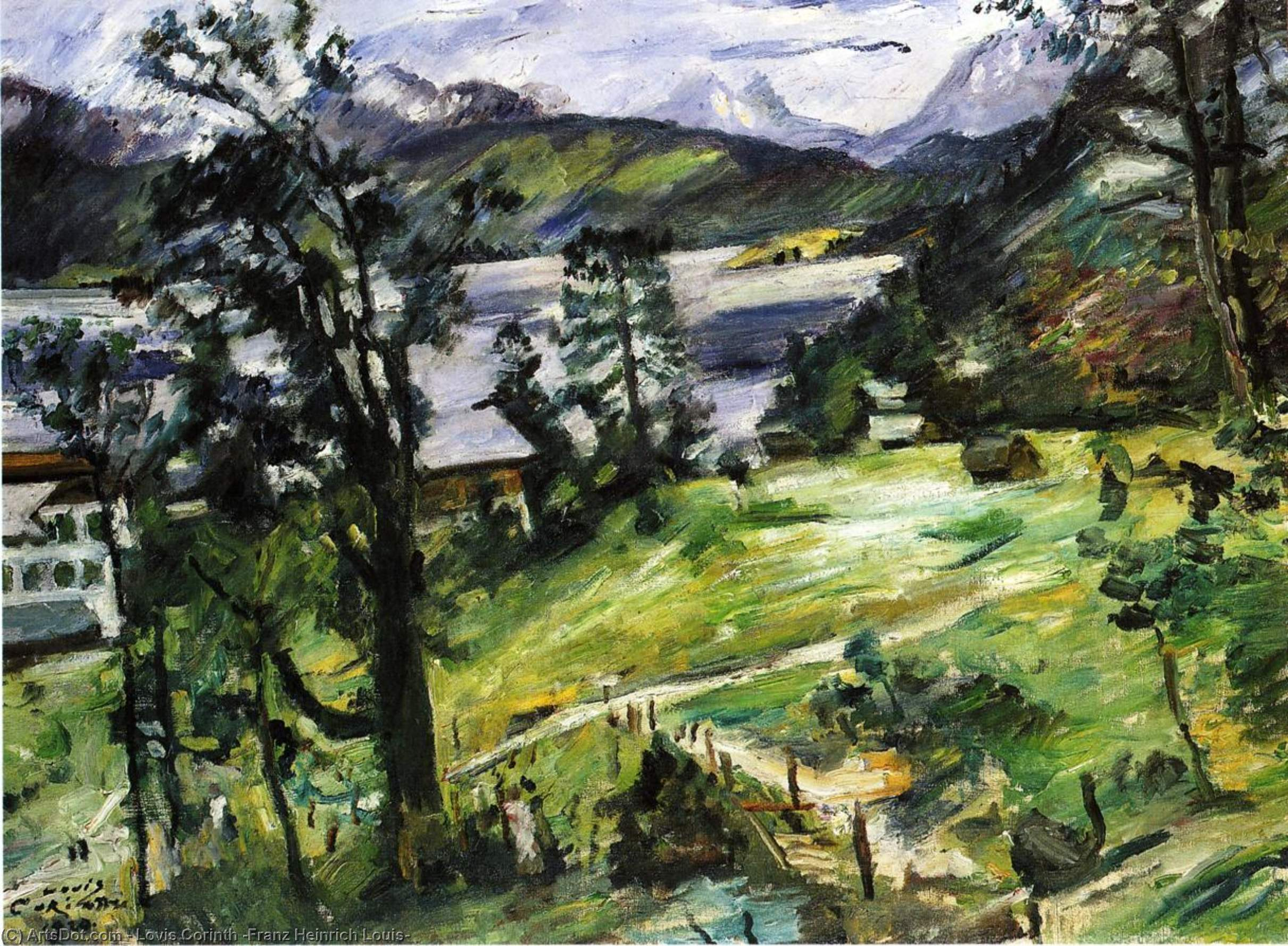 Walchensee Landscape with a Larch, Oil On Canvas by Lovis Corinth (Franz Heinrich Louis) (1858-1925, Netherlands)