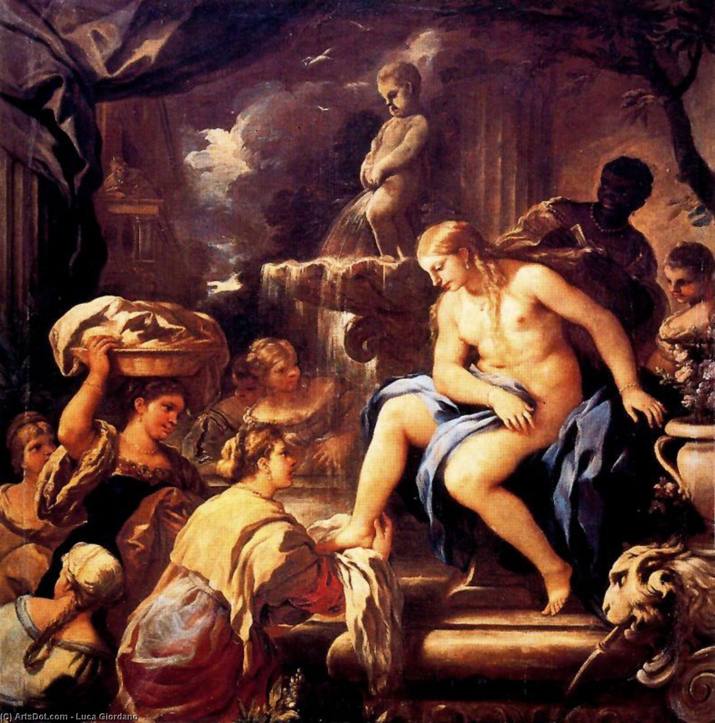 Bathsheba in the bath by Luca Giordano (1634-1705, Italy)
