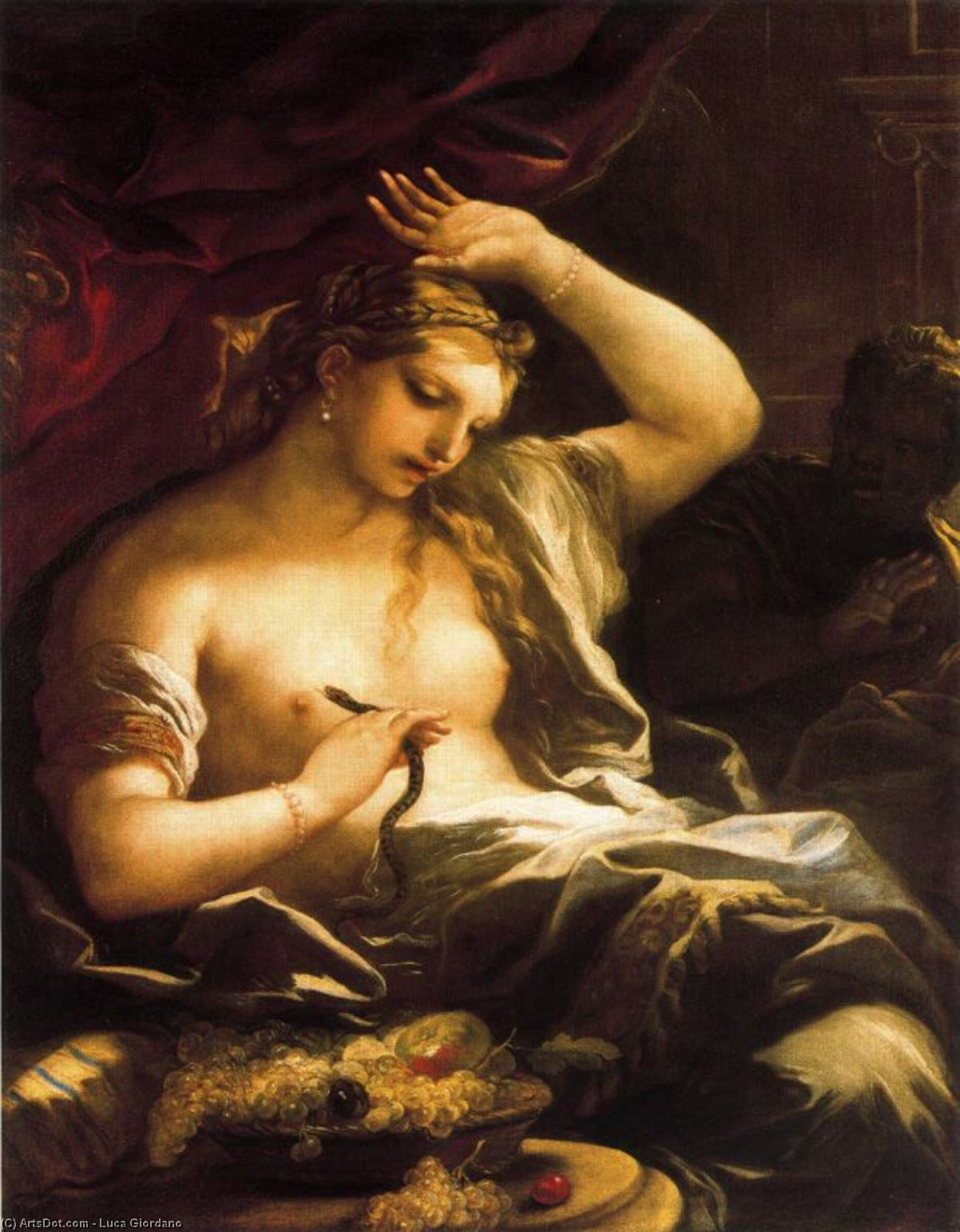 Death of Cleopatra by Luca Giordano (1634-1705, Italy)