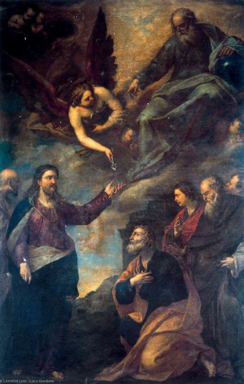 Meeting of Saints Peter and Paul led to the martyrdom by Luca Giordano (1634-1705, Italy)