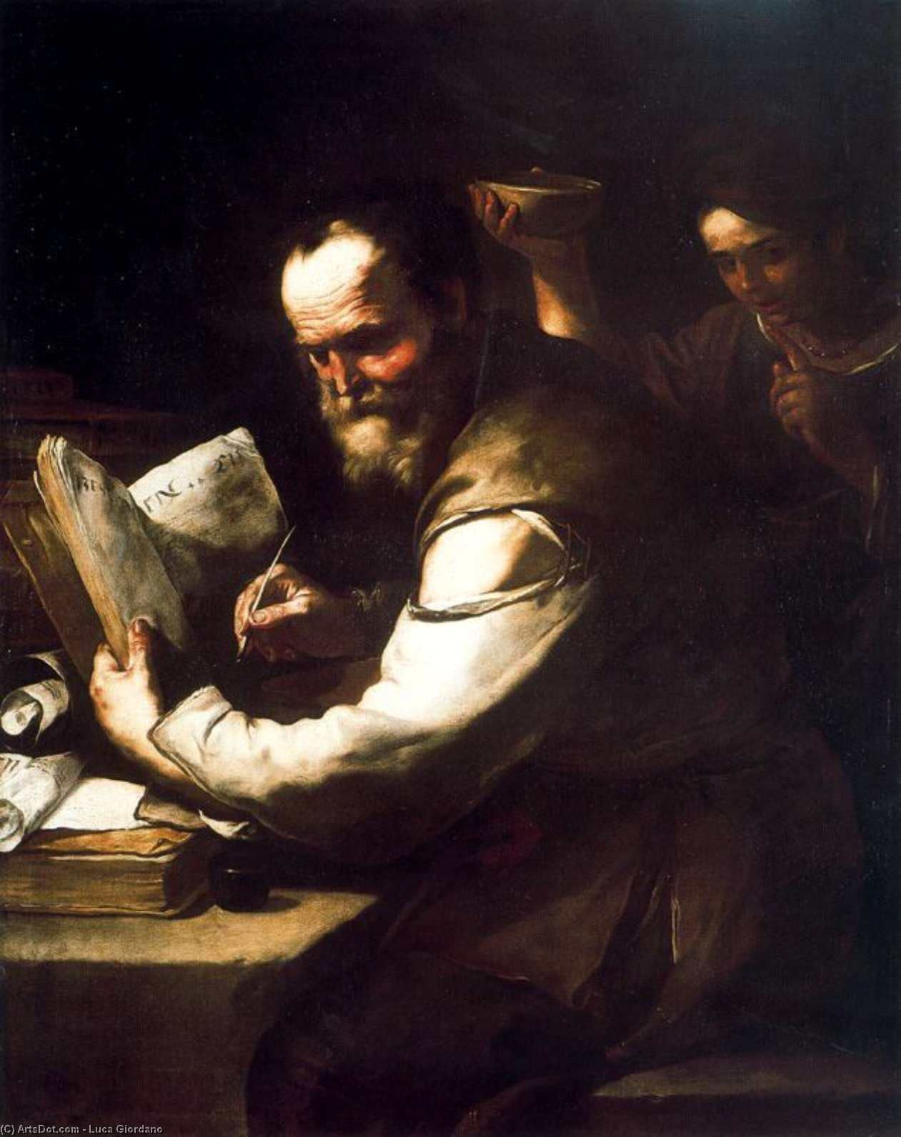 Xanthippe I'acqua poured into the neck of Socrates by Luca Giordano (1634-1705, Italy)