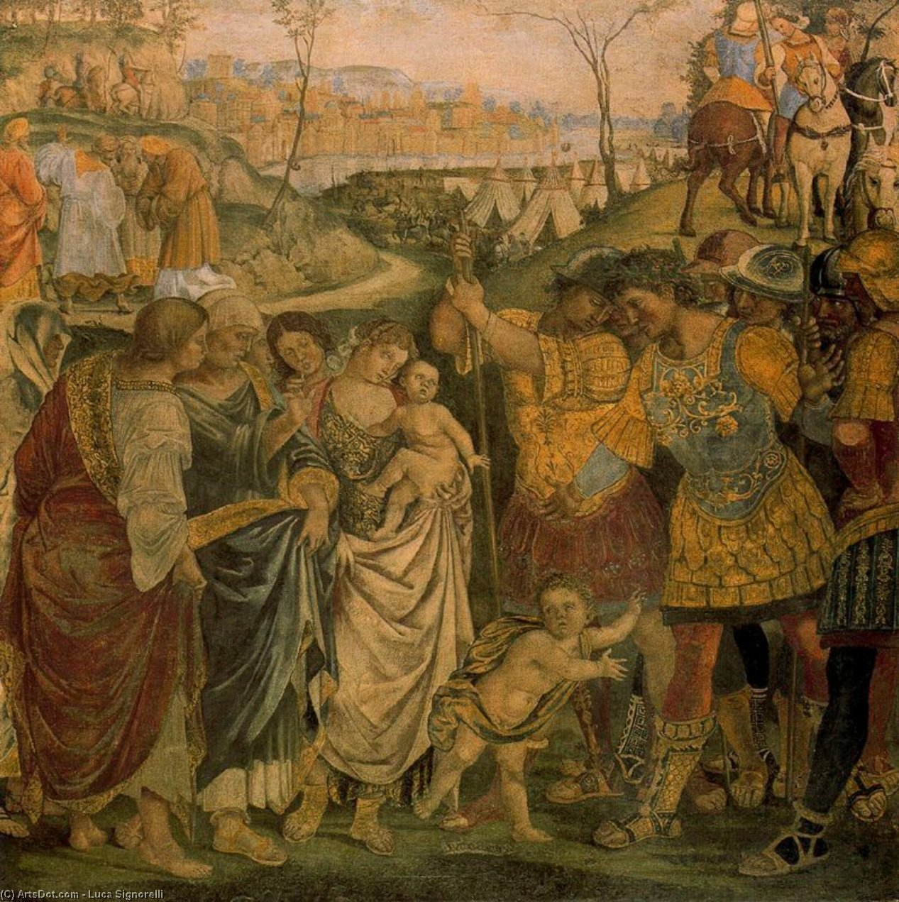 Coriolanus persuaded by his Family to spare Rome, 1509 by Luca Signorelli (1445-1523, Italy)