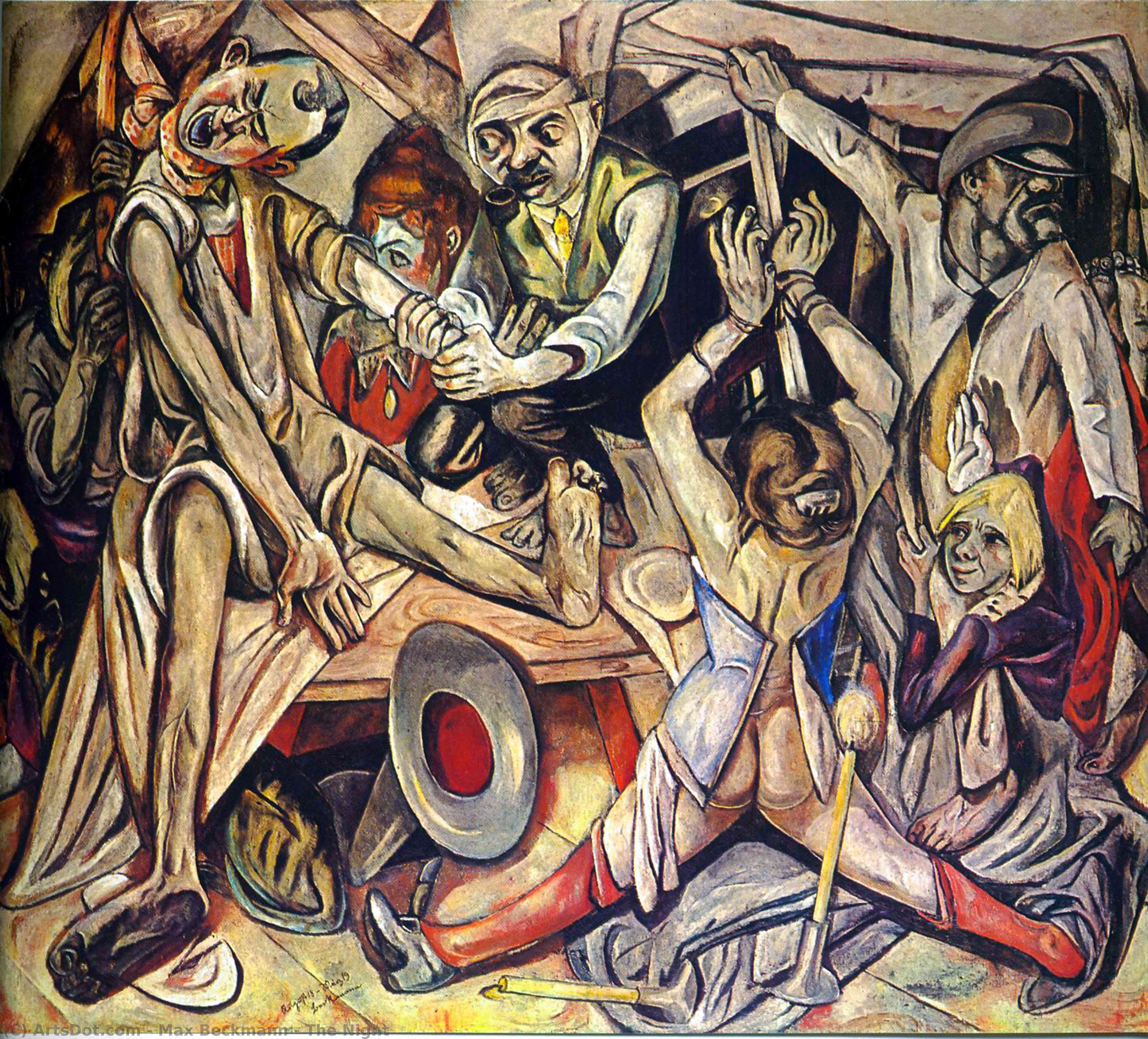 Order Art Reproductions | The Night, 1919 by Max Beckmann (1884-1950, Germany) | ArtsDot.com