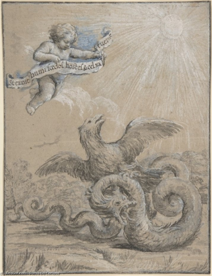 Design with an Eagle Fighting with a Serpent and a Putto in the Sky Holding an Inscribed Banner by Pietro Da Cortona (1596-1669, Italy)