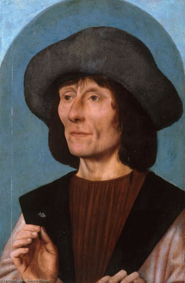 Portrait of a Man with a Pink by Quentin Massys (1466-1530, Belgium) | Oil Painting | ArtsDot.com