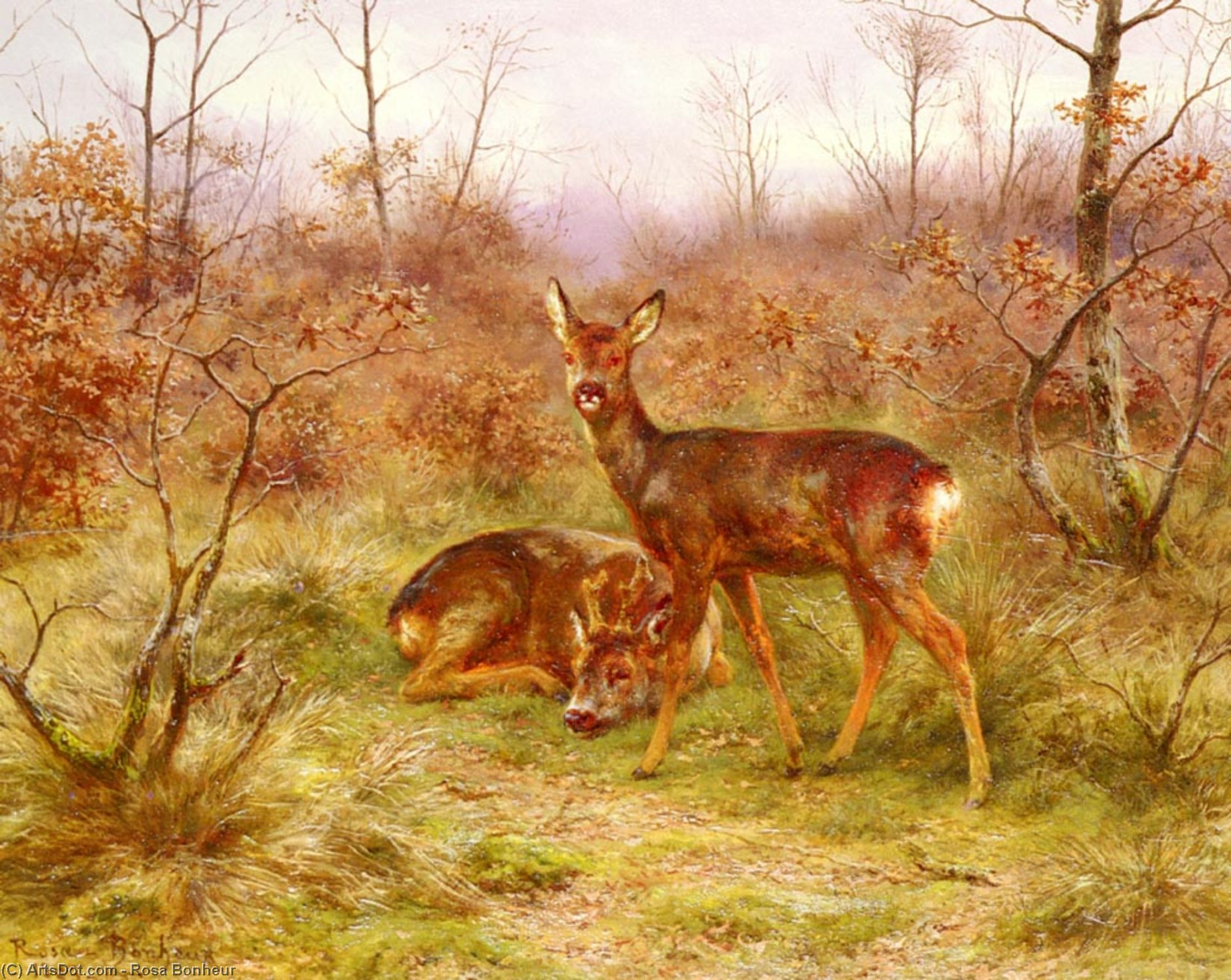 A couple of deer in the Forest of Fontainebleau by Rosa Bonheur (1822-1899, France)