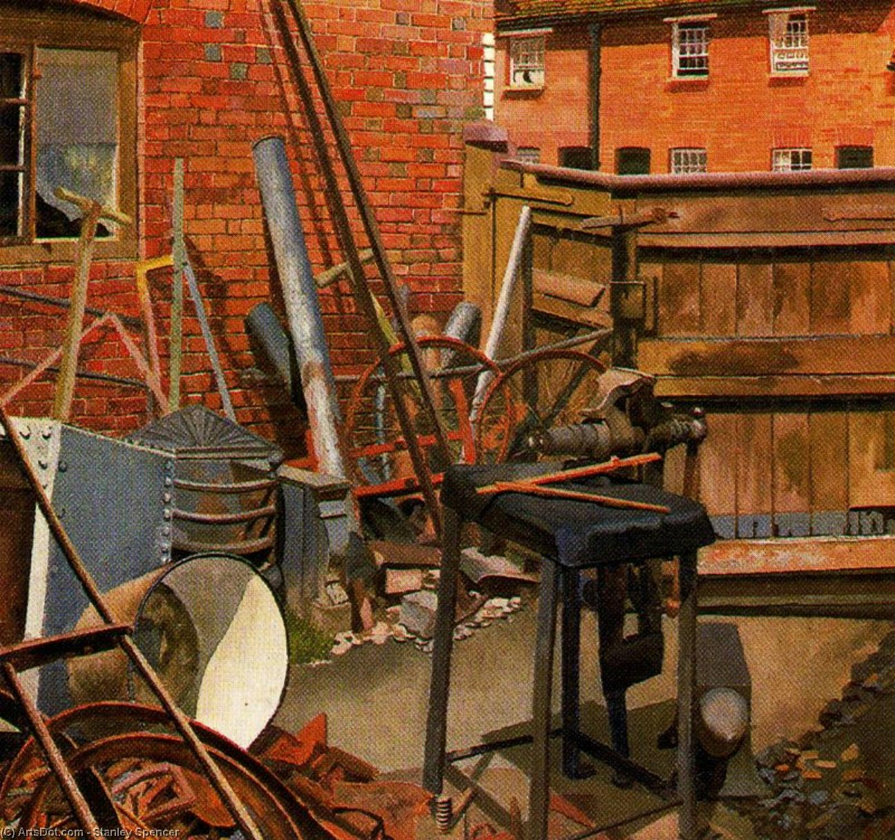 The Blacksmith's Yard. Cookham by Stanley Spencer (1891-1959, United Kingdom)