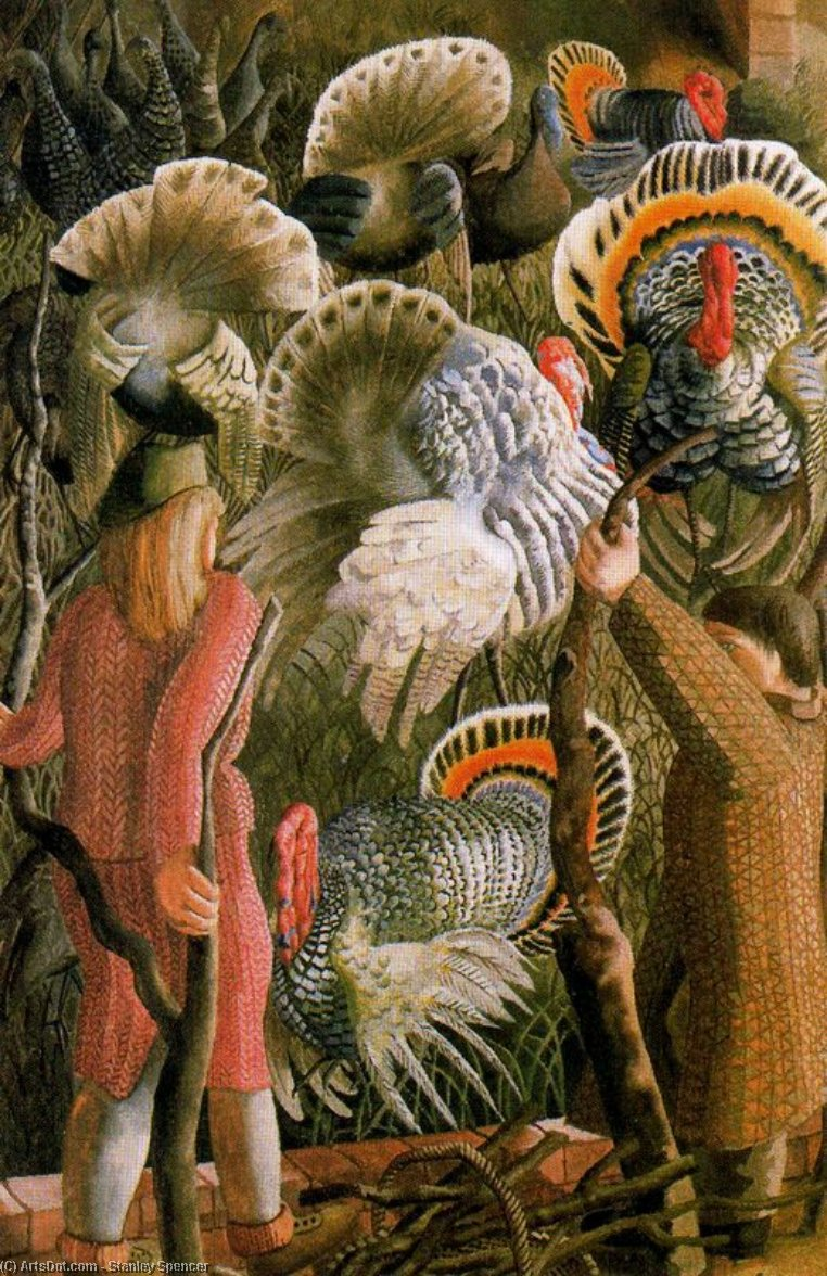 Turkeys 1 by Stanley Spencer (1891-1959, United Kingdom)