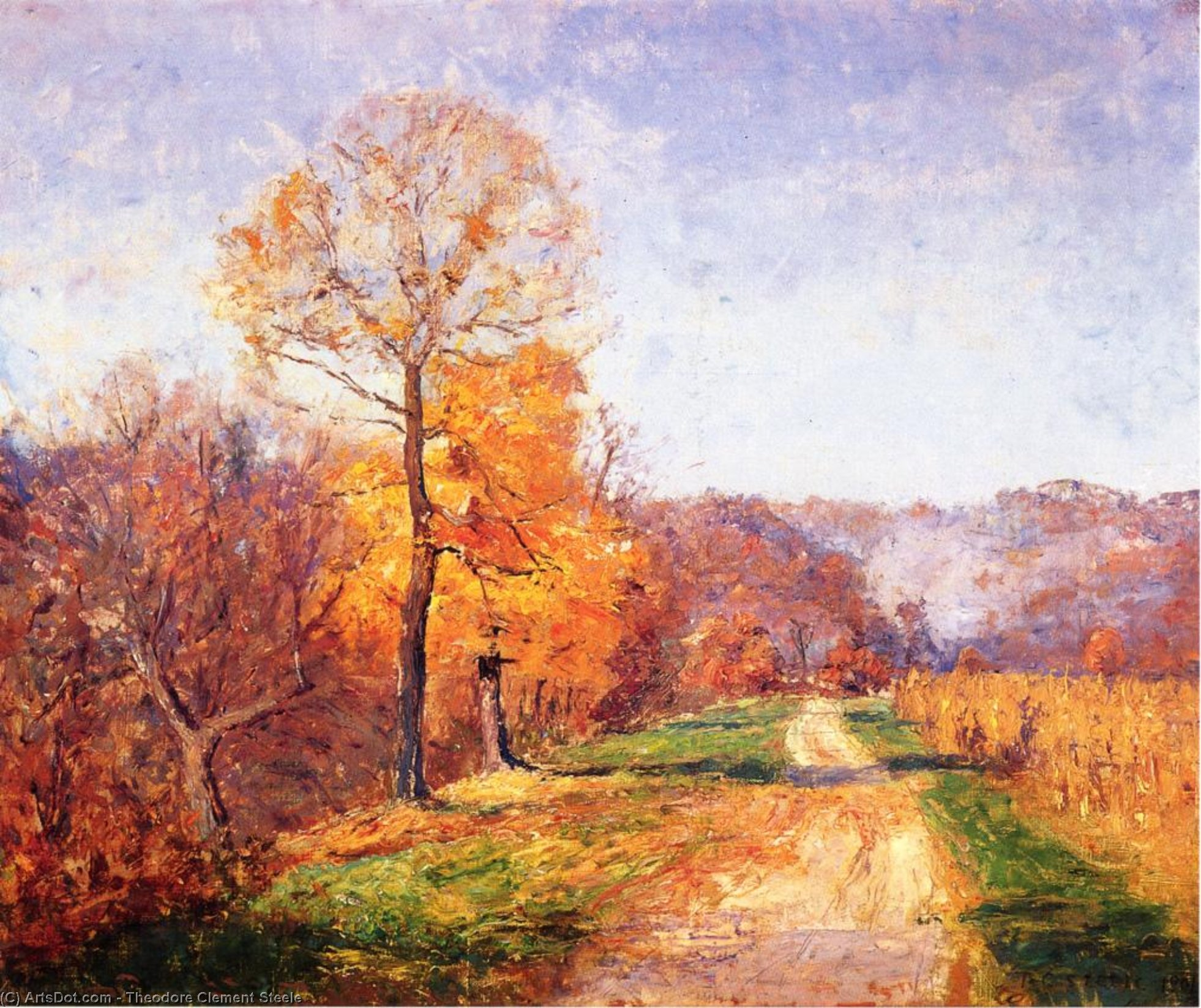 Along a Country Lane by Theodore Clement Steele  (order Fine Art fine art print Theodore Clement Steele)