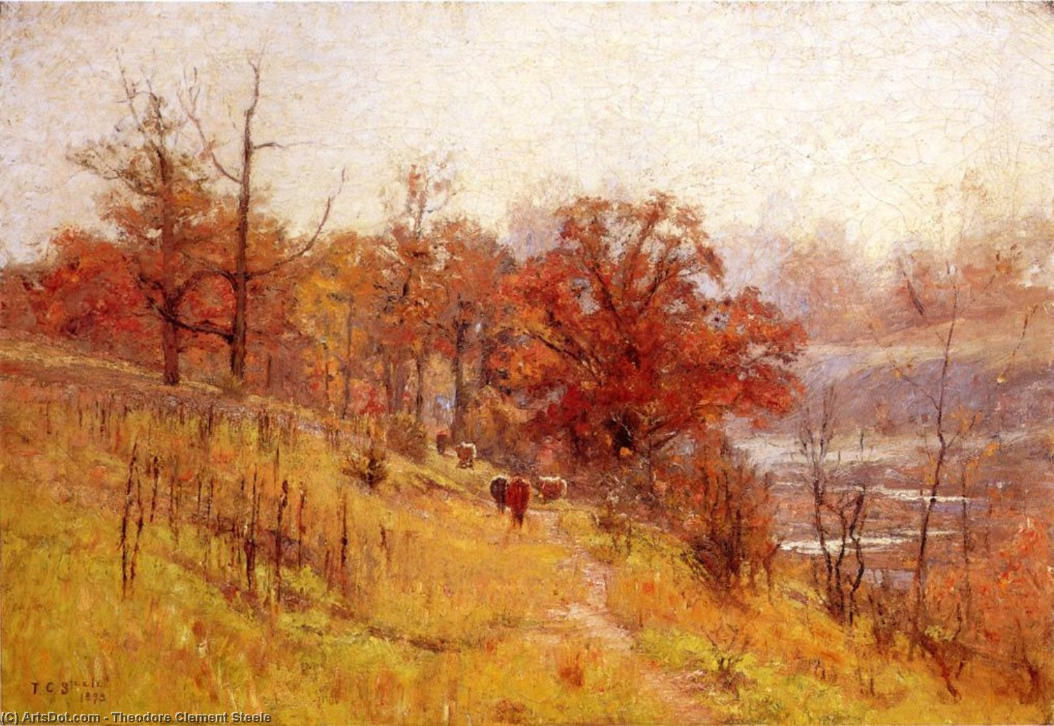 November's Harmony, Oil On Canvas by Theodore Clement Steele (1847-1926, United States)