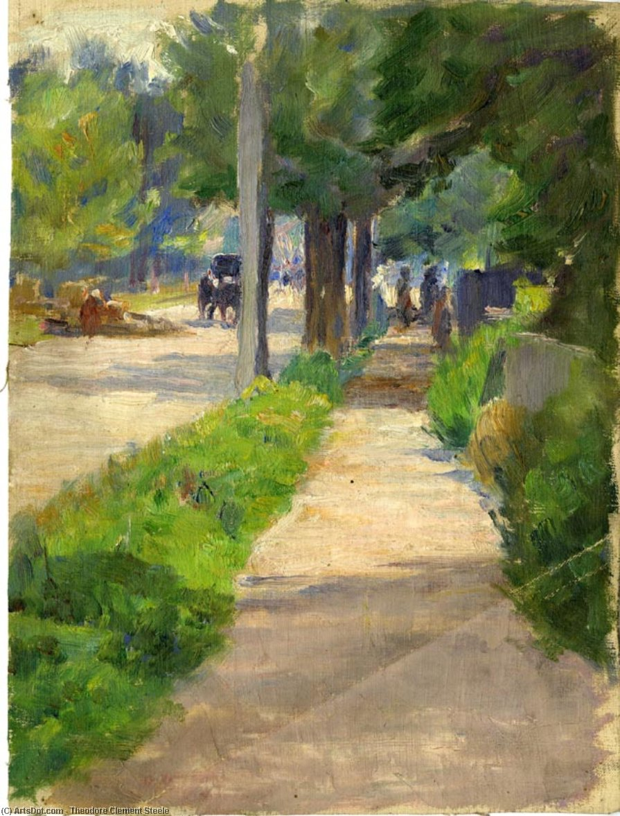 Painting Study of Streetscape by Theodore Clement Steele (1847-1926, United States)