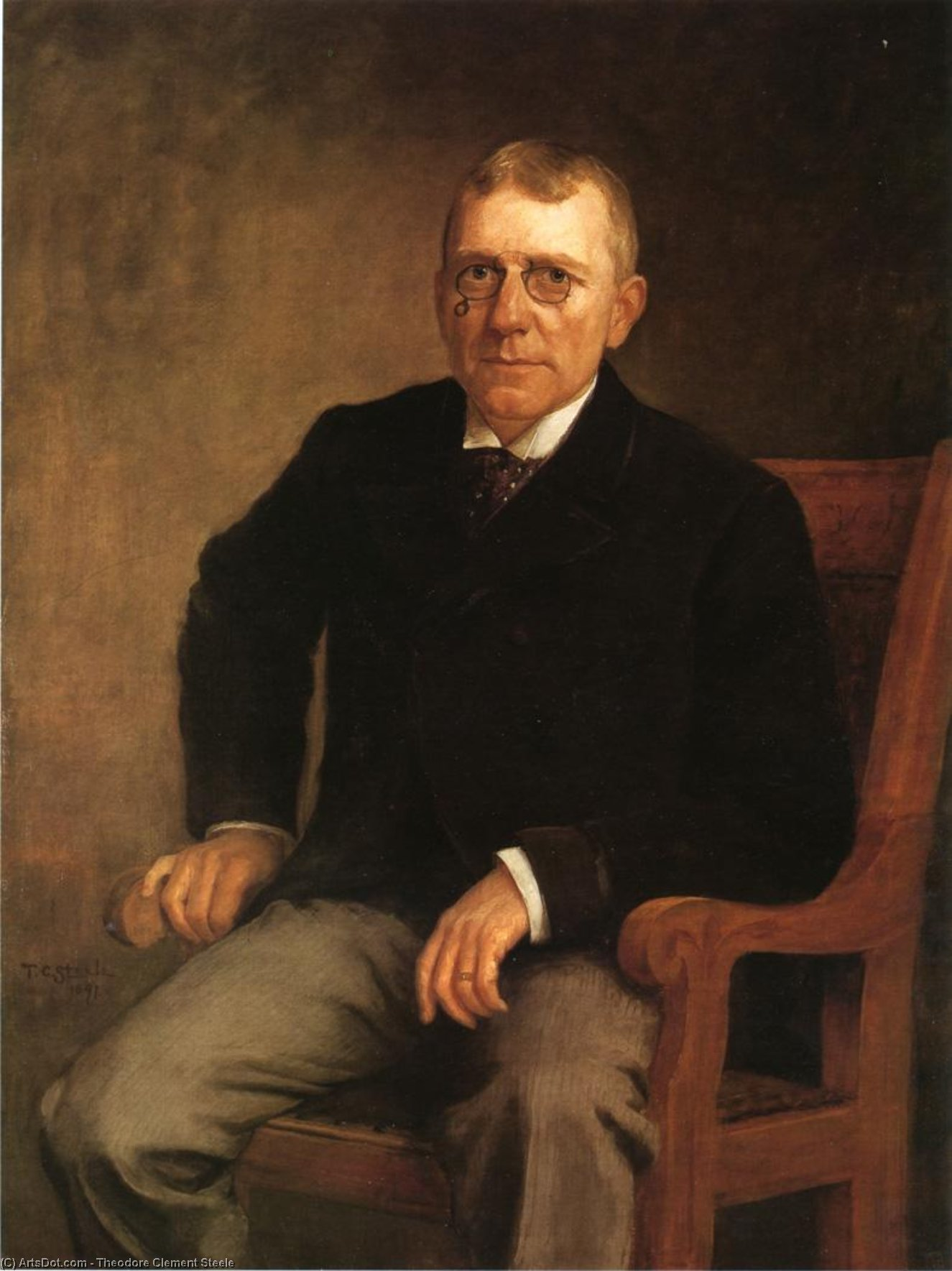 Portrait of James Whitcomb Riley, 1891 by Theodore Clement Steele (1847-1926, United States) | Museum Quality Copies Theodore Clement Steele | ArtsDot.com