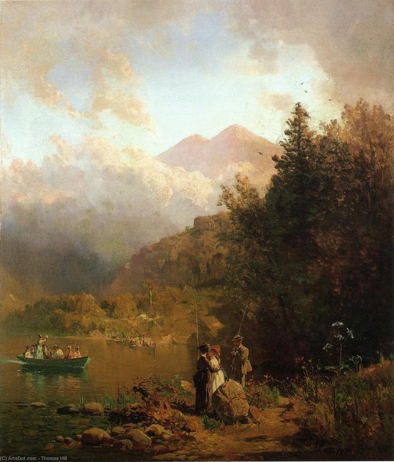 Fishing Party in the Mountains, Oil On Canvas by Thomas Hill (1829-1908, United Kingdom)