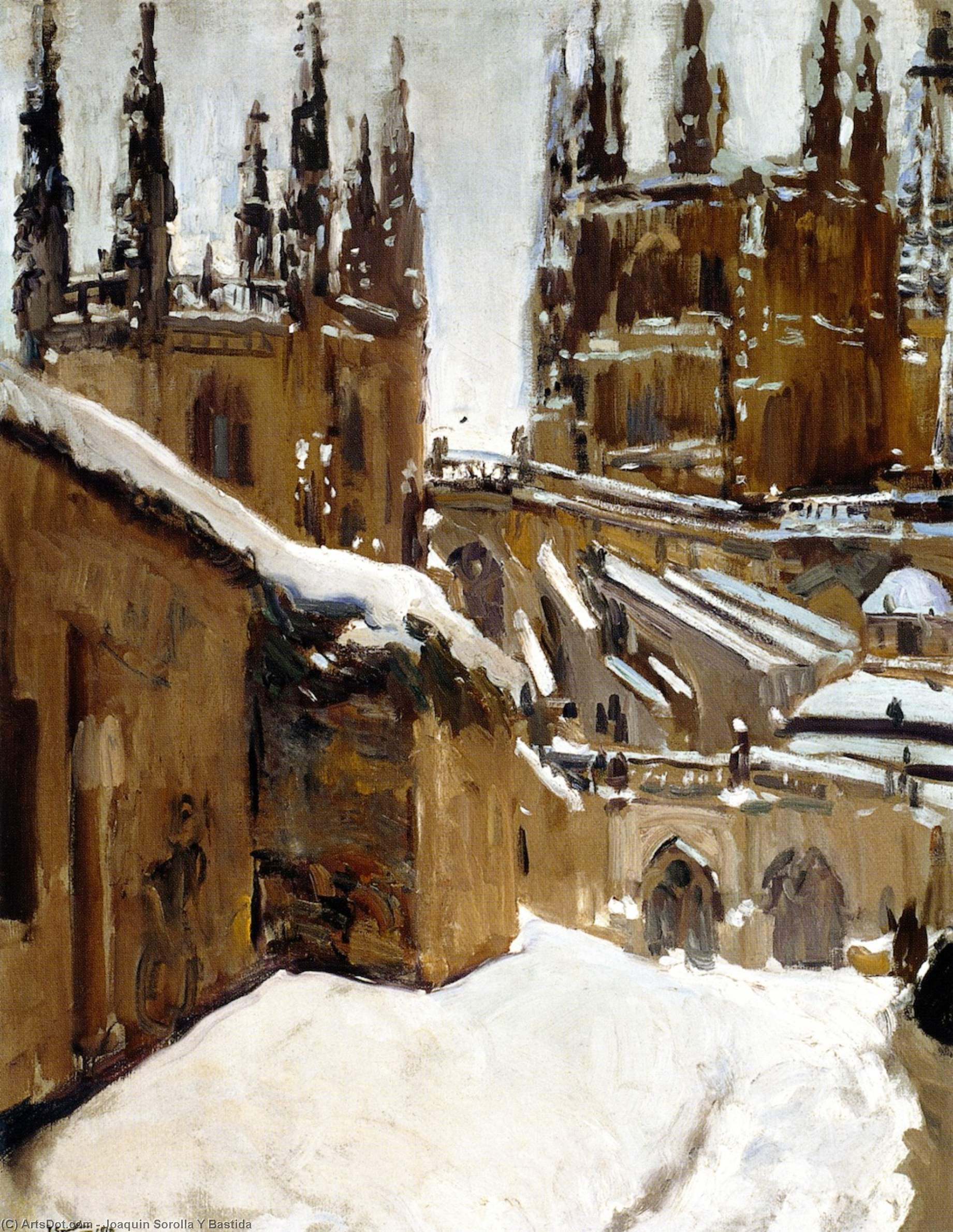 The Cathedral of Burgos under the Snow, Oil On Canvas by Joaquin Sorolla Y Bastida (1863-1923, Spain)