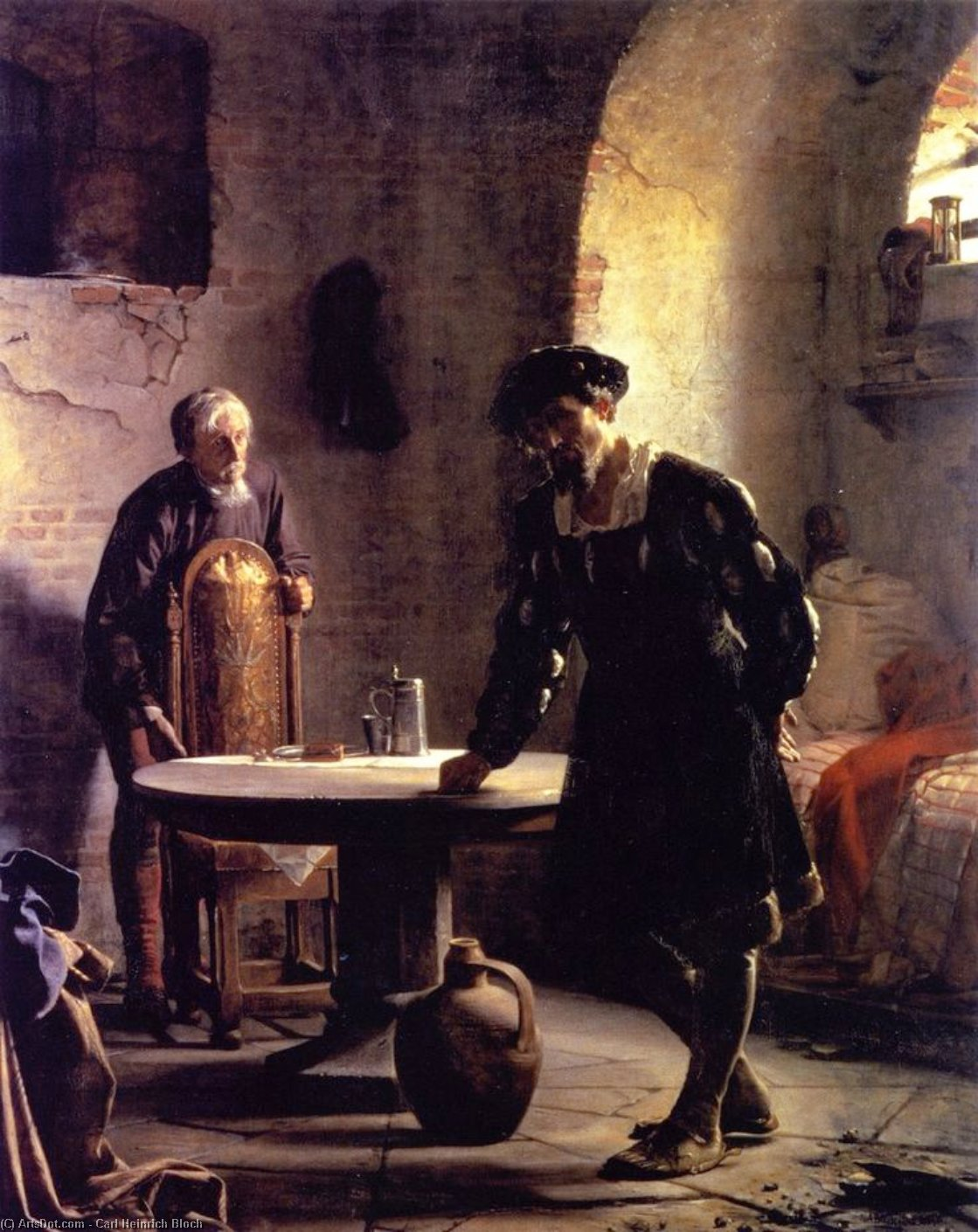 Christian II in Prison at Sonderborg Castle, Oil On Canvas by Carl Heinrich Bloch (1834-1890, Denmark)