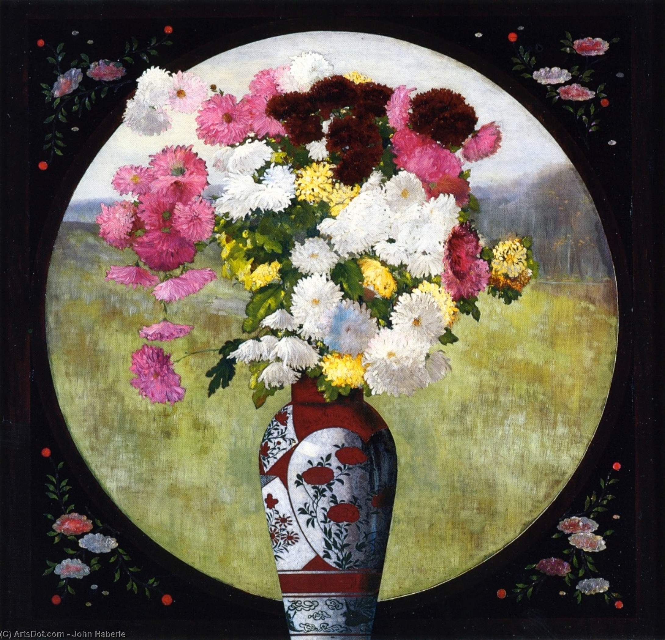 Chrysanthemums in a Chinese Vase, Oil On Canvas by John Haberle (1856-1933, United States)