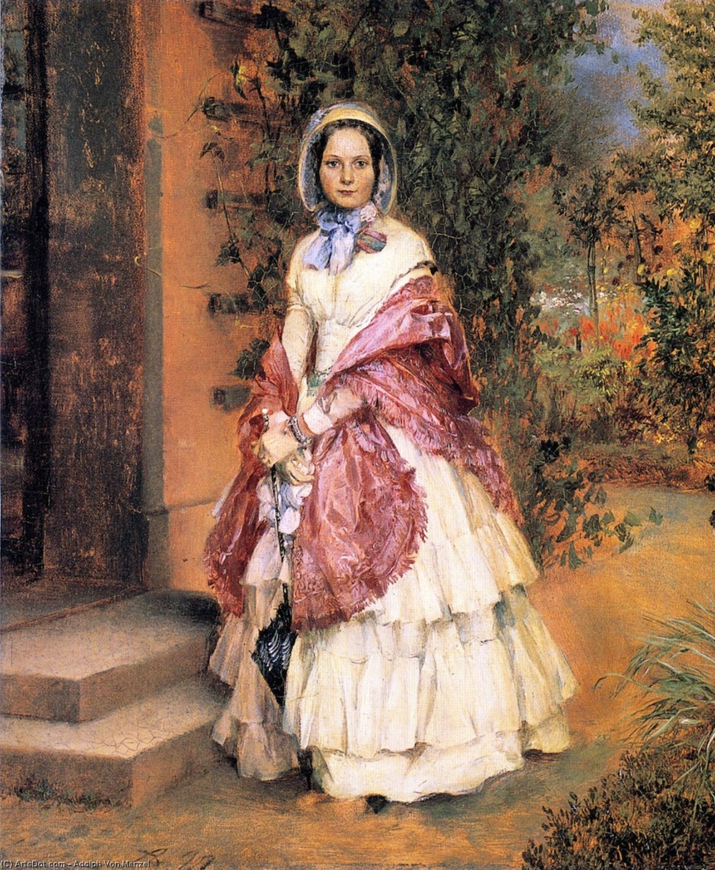 Clara Ilger, later Frau Schmidt von Knobelsdorf, Oil On Canvas by Adolph Menzel (1815-1905, Poland)