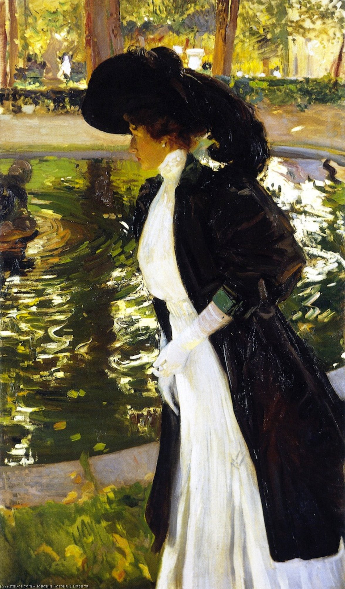 Clotilde Strolling in the Gardens of La Granja, Oil On Canvas by Joaquin Sorolla Y Bastida (1863-1923, Spain)