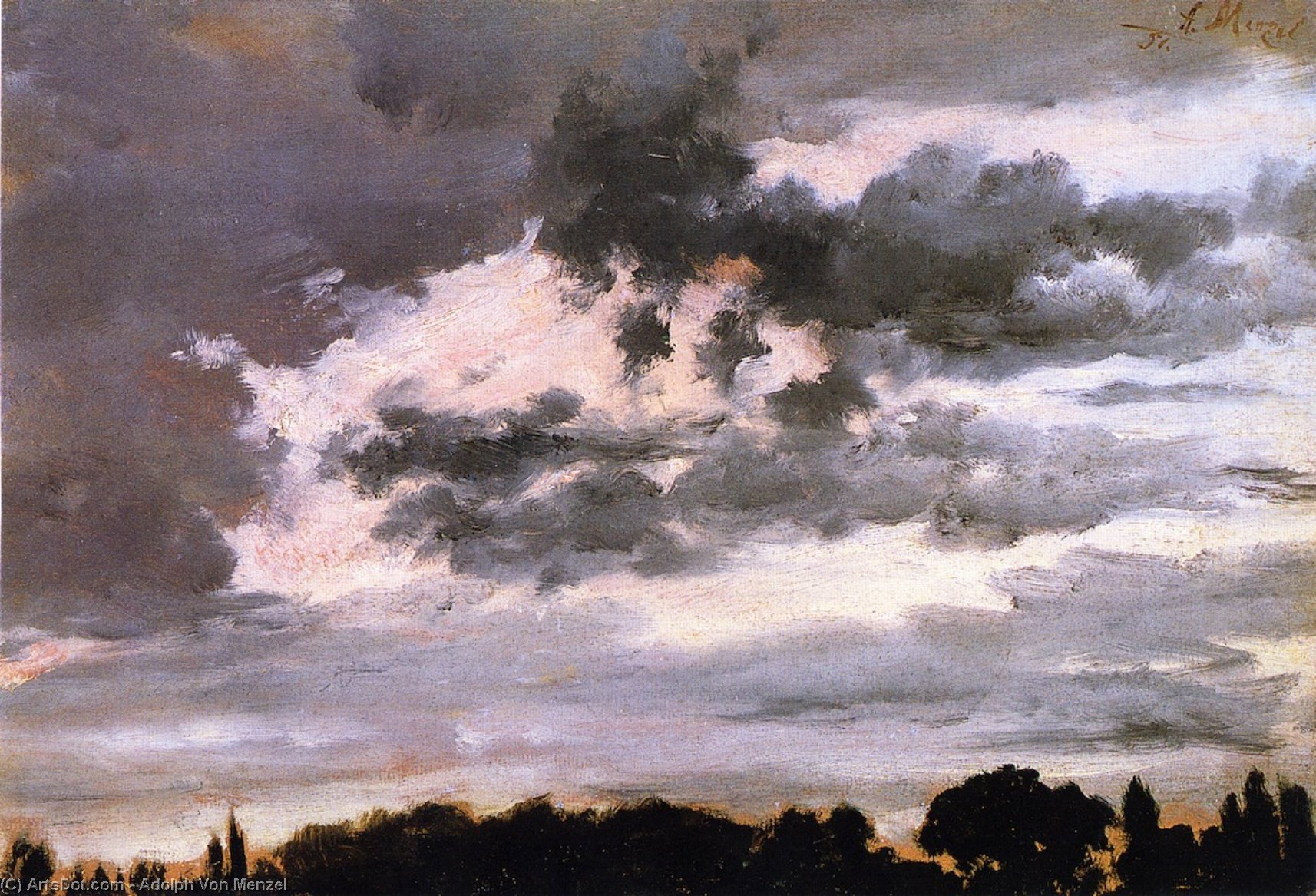 Cloud Study, Oil On Canvas by Adolph Menzel (1815-1905, Poland)