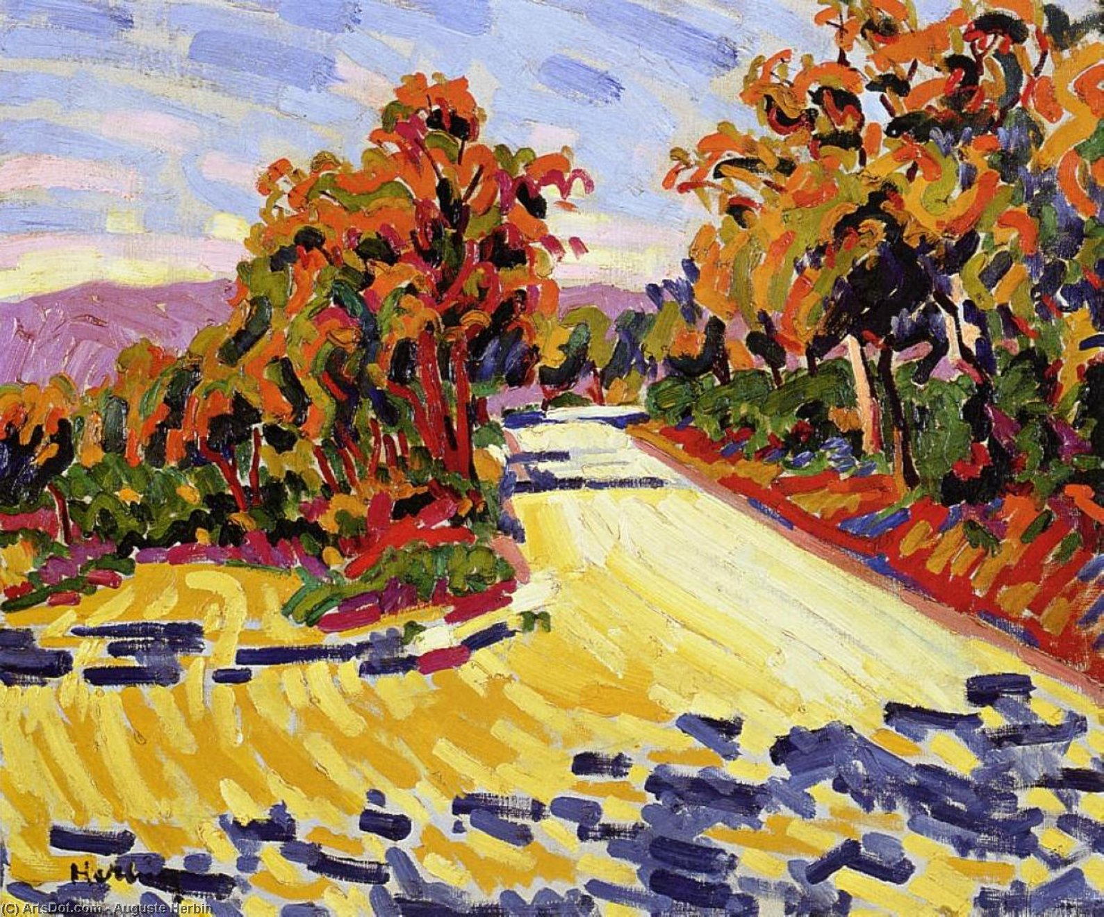Corsican Landscape, Oil On Canvas by Auguste Herbin (1882-1960, United States)