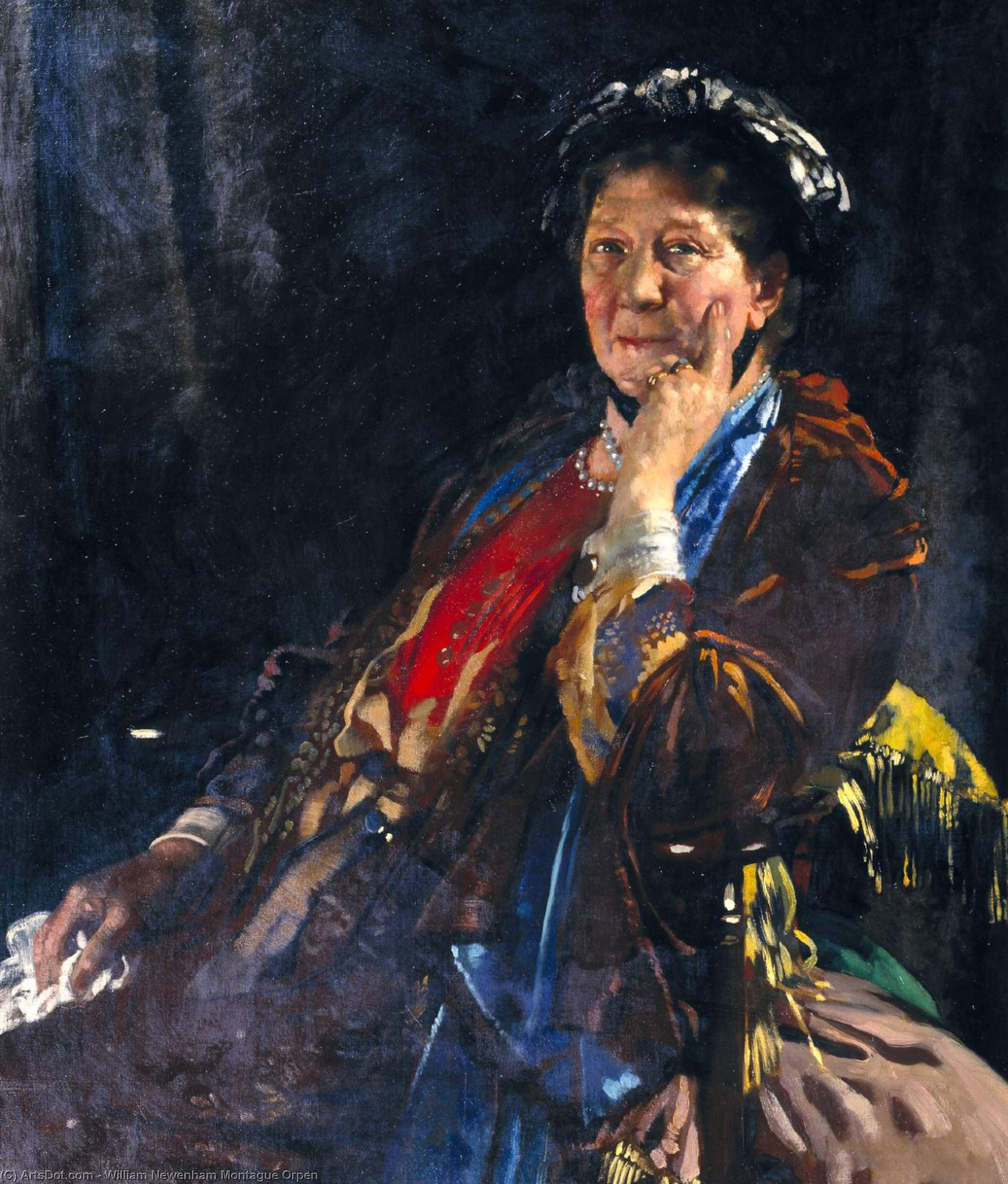 Dame Madge Kendal, Oil On Canvas by William Newenham Montague Orpen (1878-1931, Ireland)