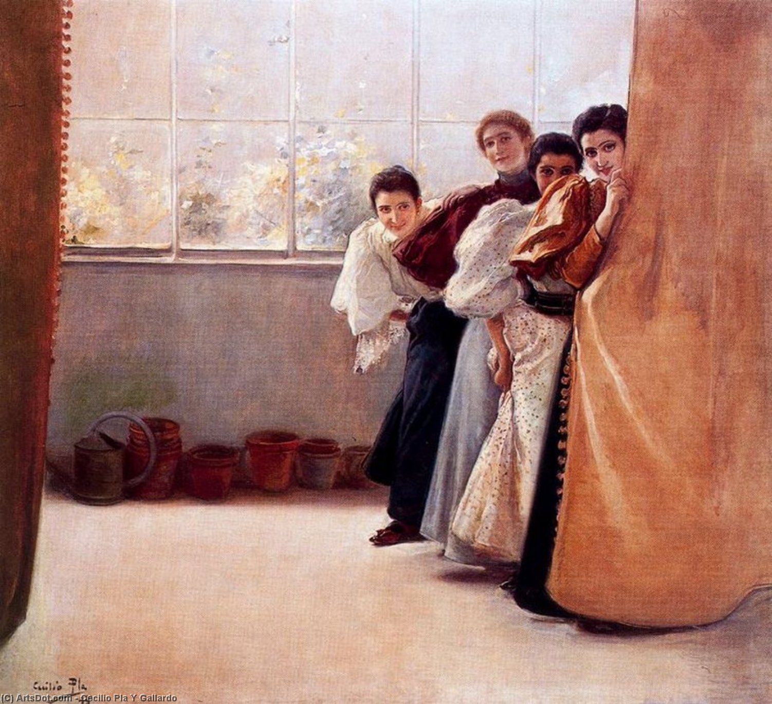 Escondidas, Oil On Canvas by Cecilio Pla Y Gallardo (1860-1934, Spain)