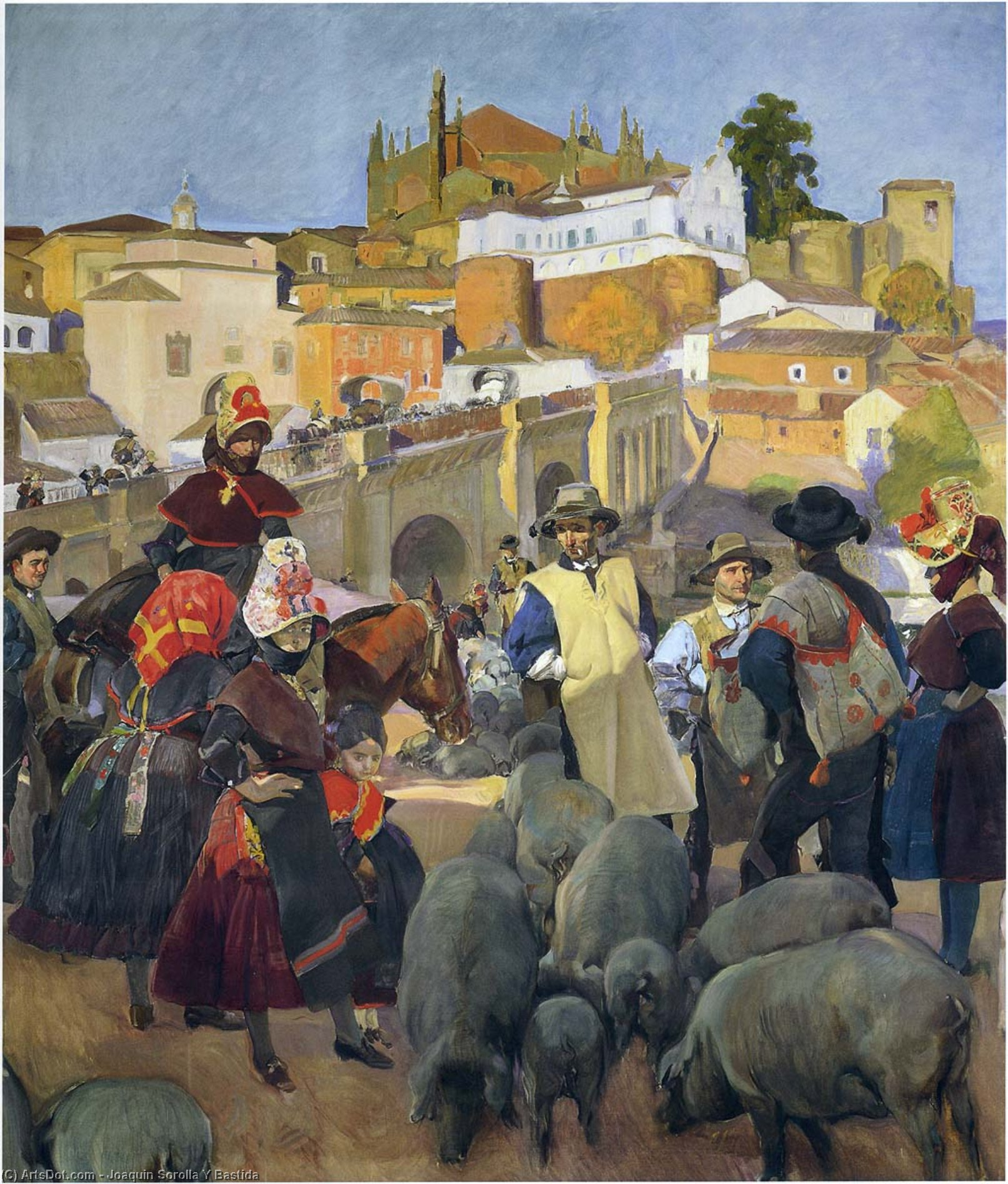 Extremadura, The Market, Oil On Canvas by Joaquin Sorolla Y Bastida (1863-1923, Spain)