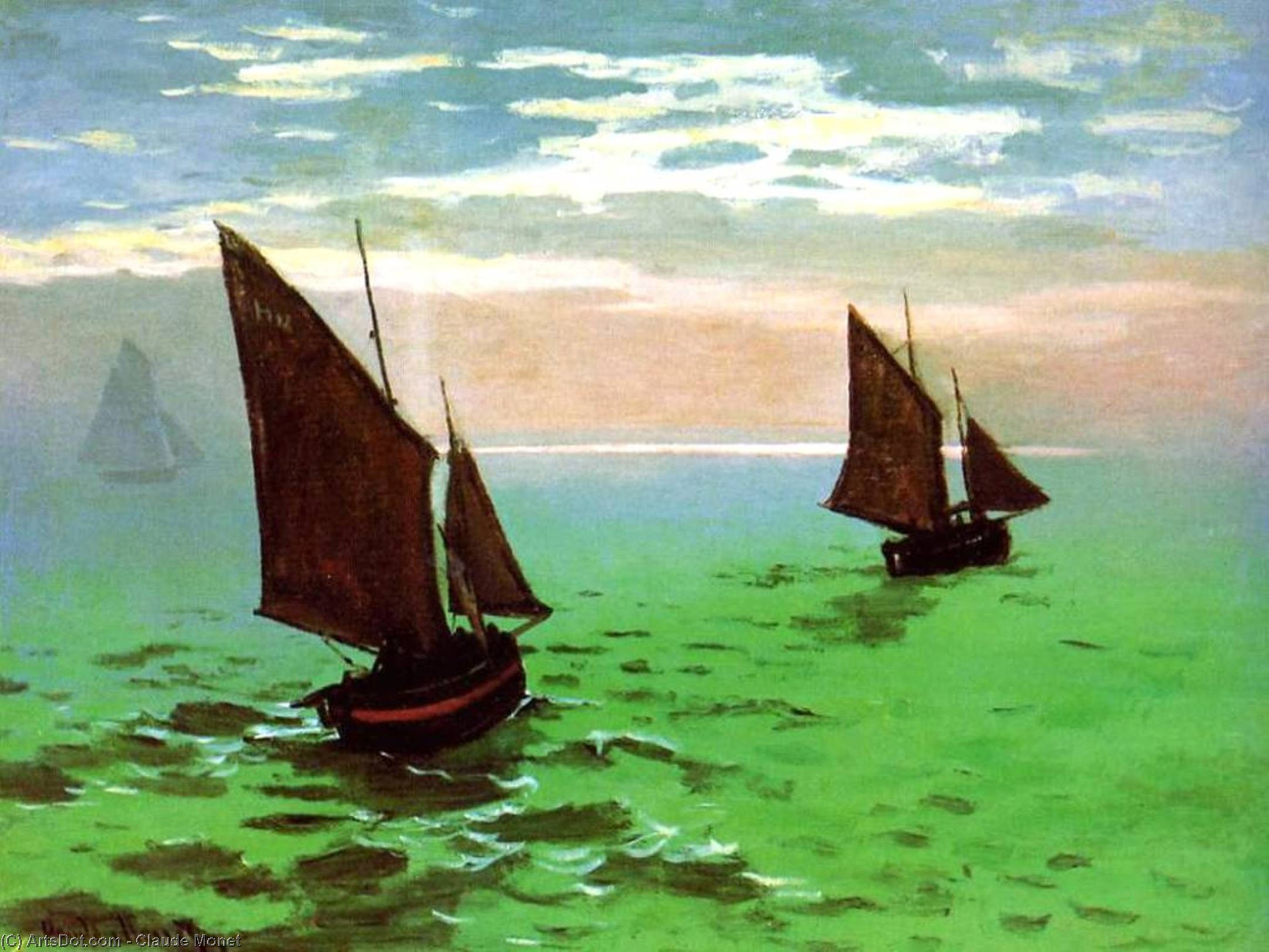 Fishing Boats at Sea, 1868 by Claude Monet (1840-1926, France) | Paintings Reproductions Claude Monet | ArtsDot.com