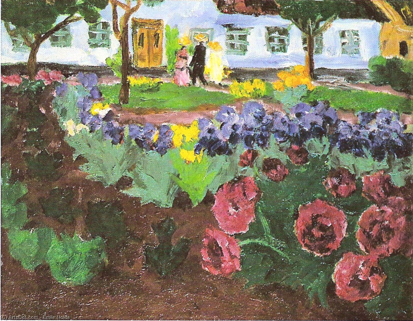 Garden with flowers, 1916 by Emile Nolde (1867-1956, Germany) | Museum Art Reproductions | ArtsDot.com