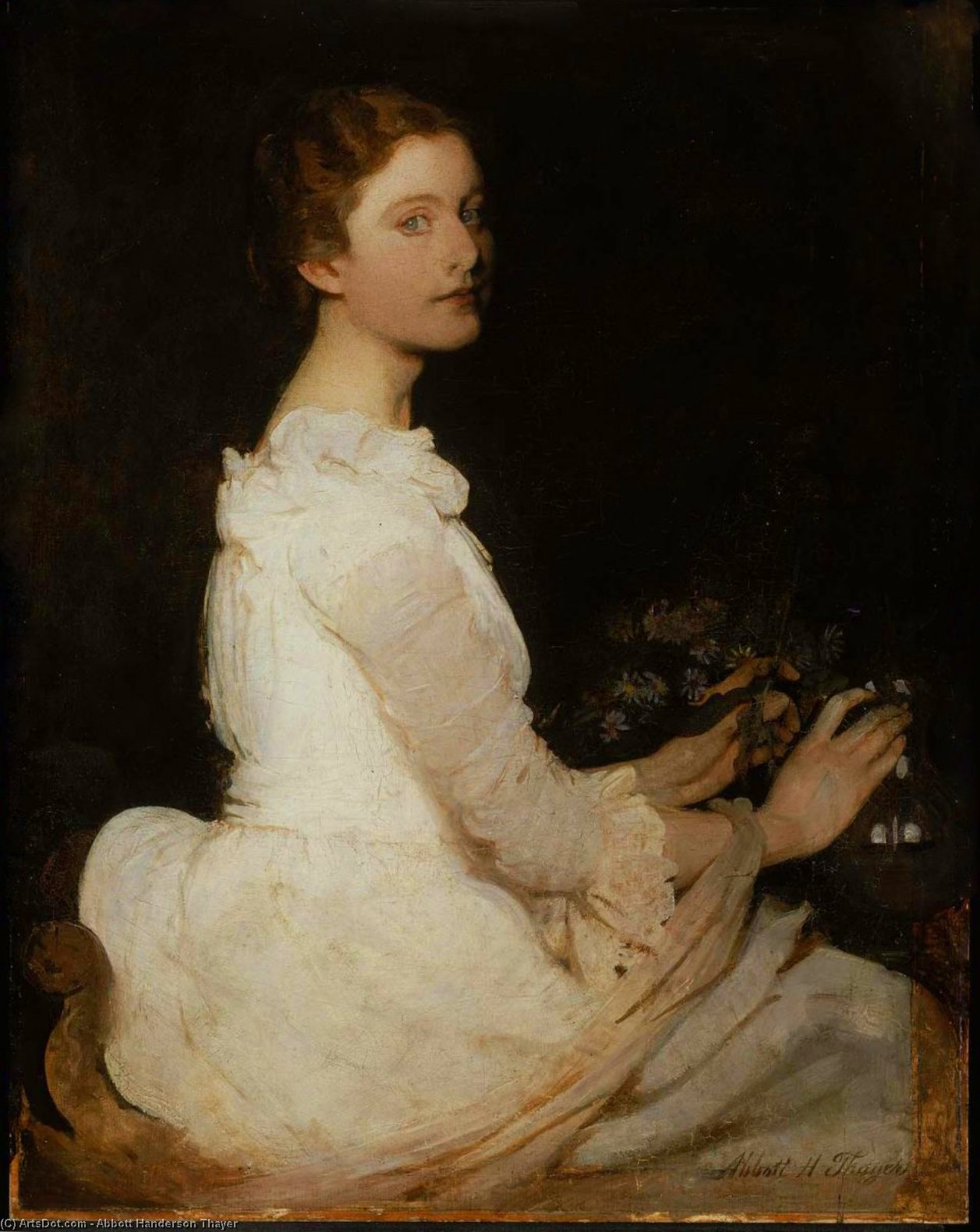 Girl in White (also known as Margaret Greene), Oil On Canvas by Abbott Handerson Thayer (1849-1921, United States)