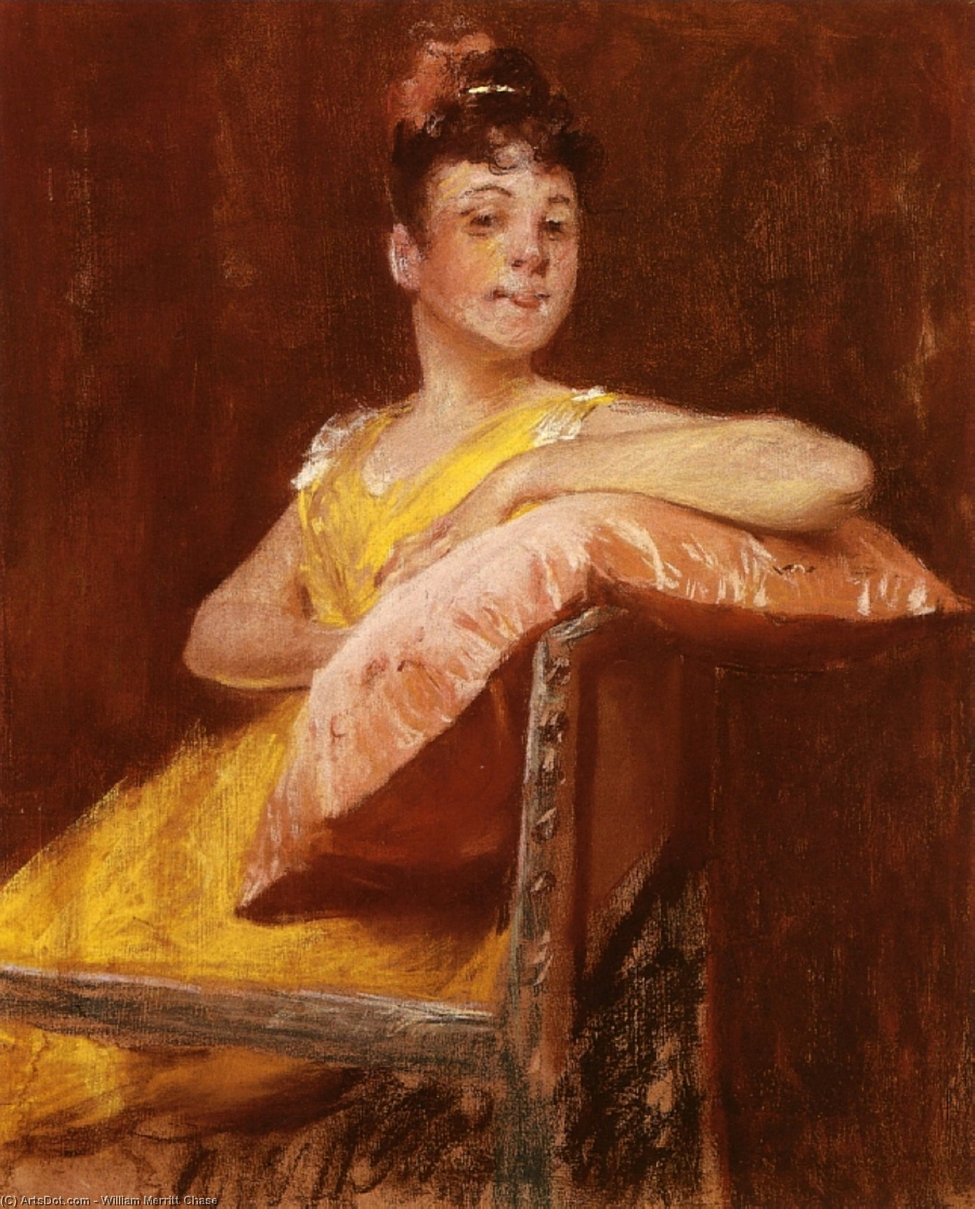 A Girl in Yellow (also known as The Yellow Gown), Drawing by William Merritt Chase (1849-1916, United States)