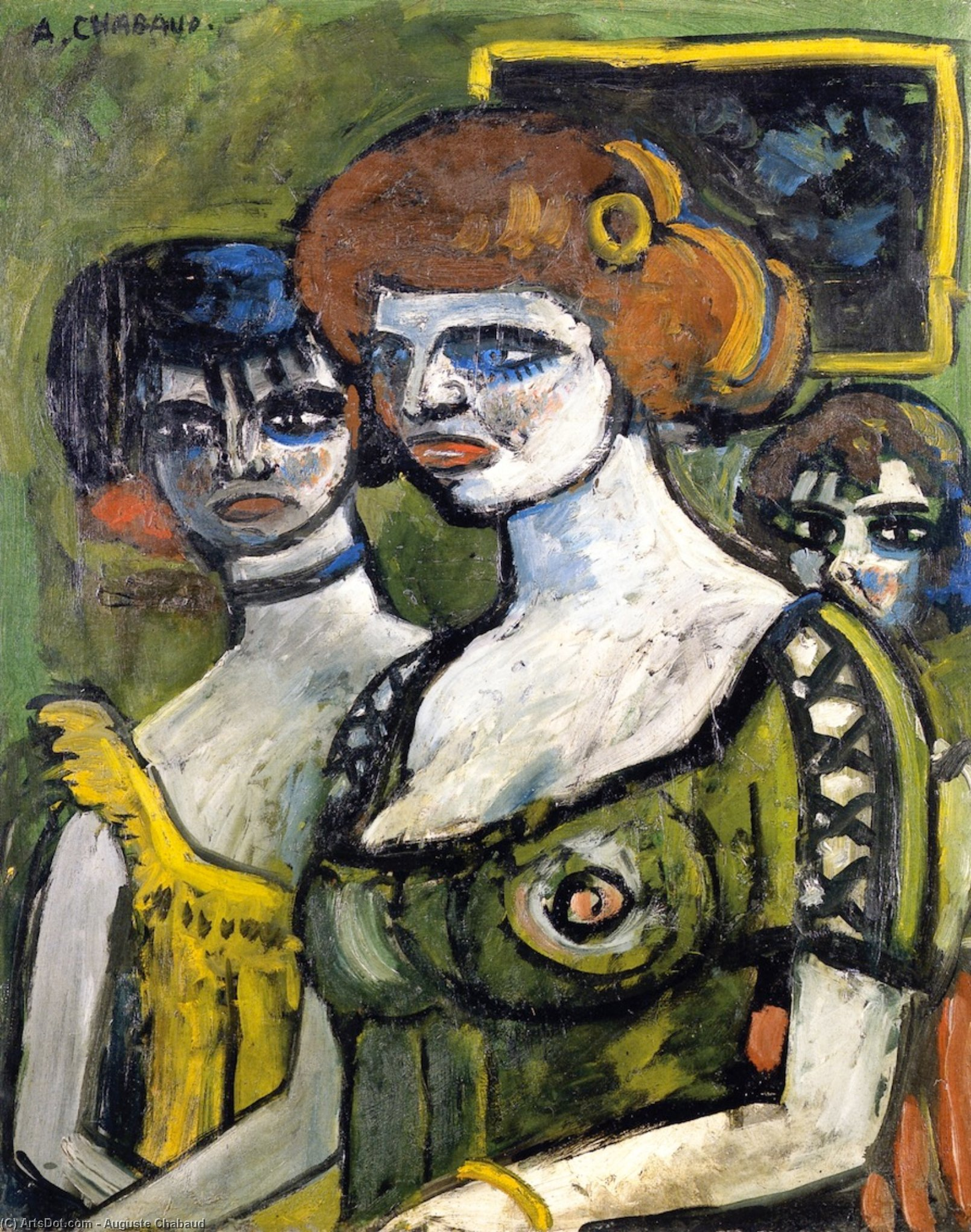 Girls in Green, Oil On Canvas by Auguste Chabaud (1882-1955, France)
