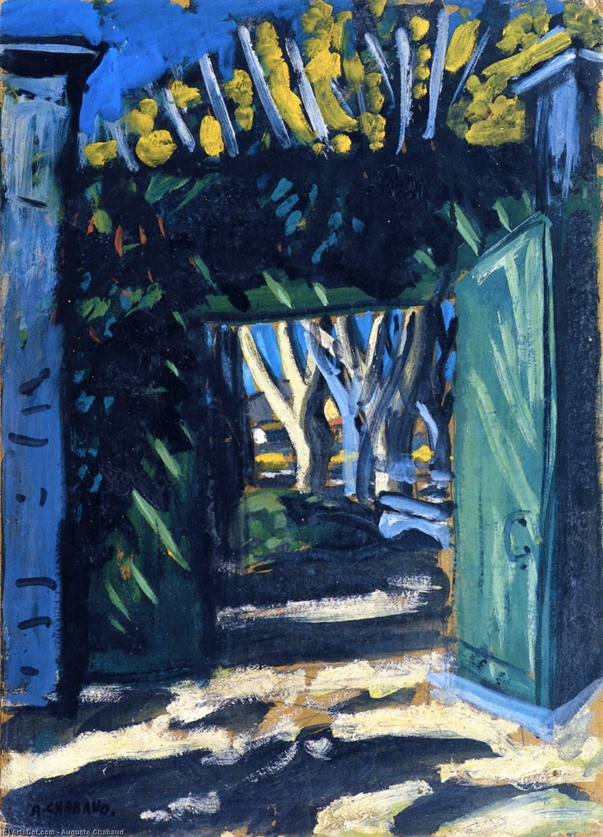 The Green Gate, Oil On Panel by Auguste Chabaud (1882-1955, France)