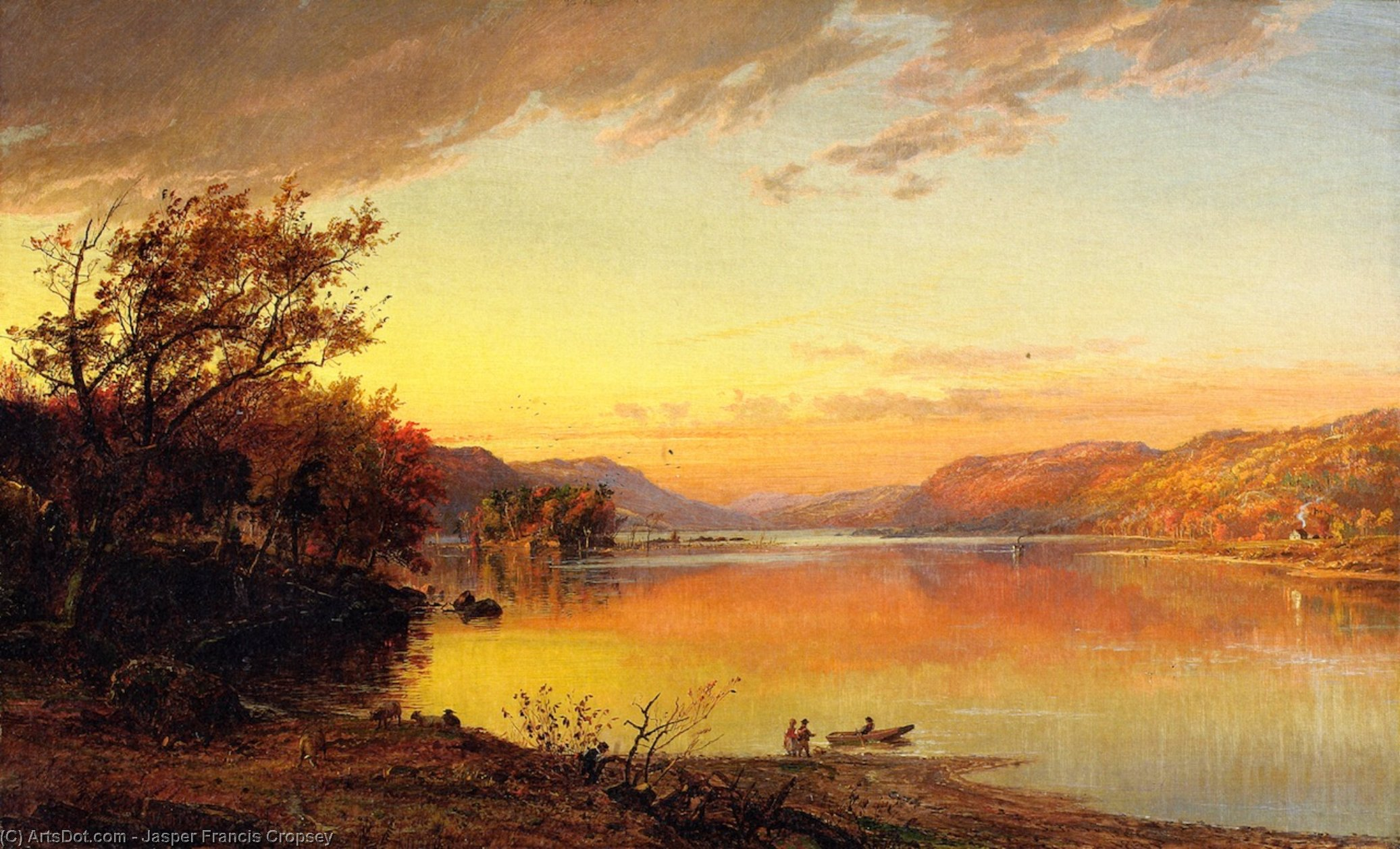 Greenwood Lake, New Jersey, 1871 by Jasper Francis Cropsey (1823-1900, United States) | ArtsDot.com