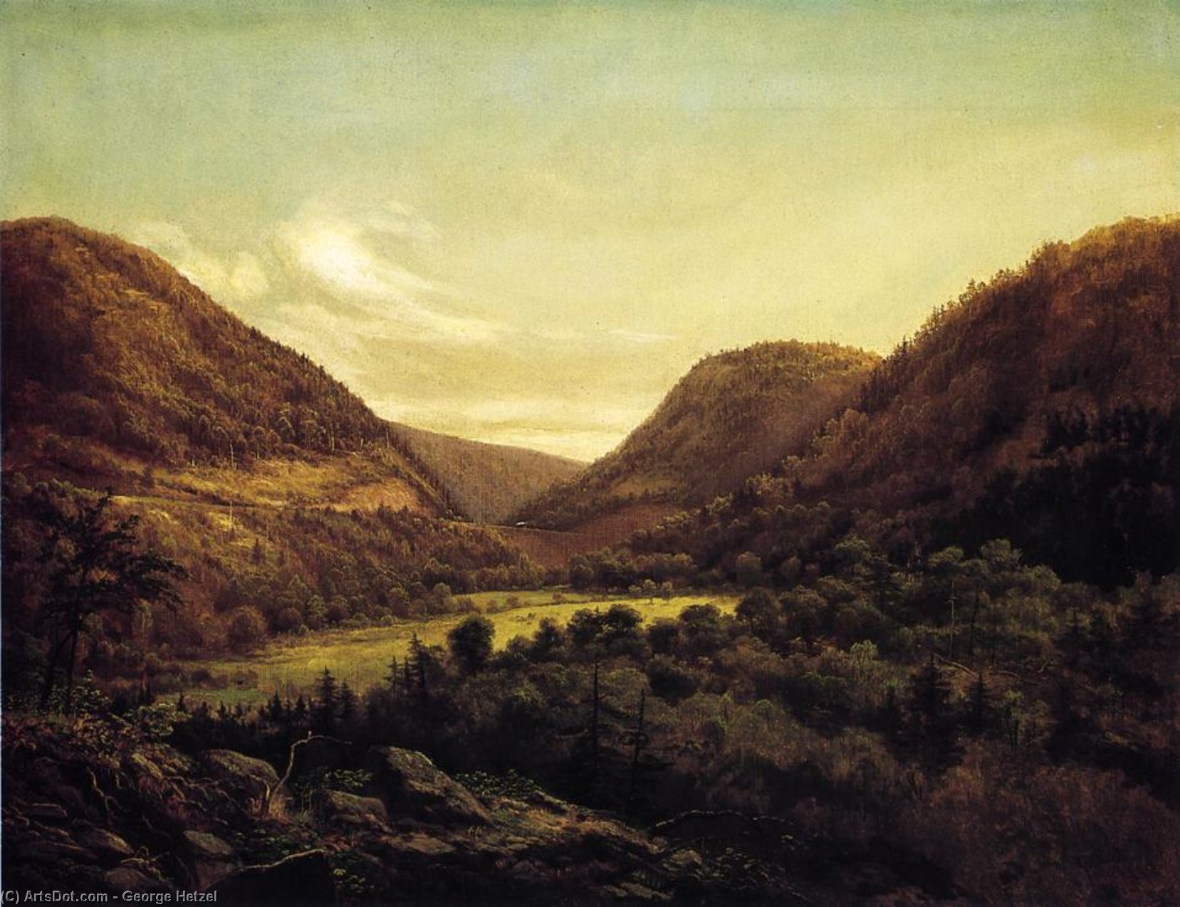 Horseshoe Bend, Oil On Canvas by George Hetzel (1826-1899, France)