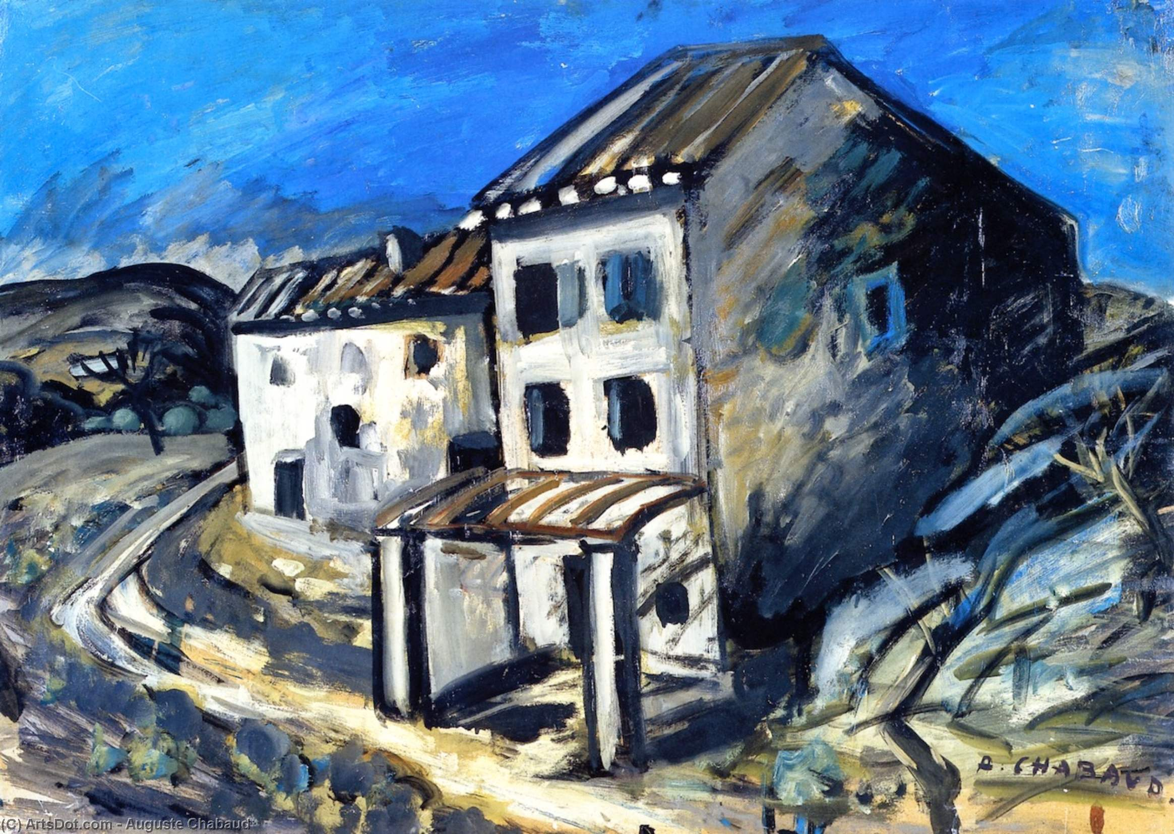 House along the Road, Oil On Panel by Auguste Chabaud (1882-1955, France)