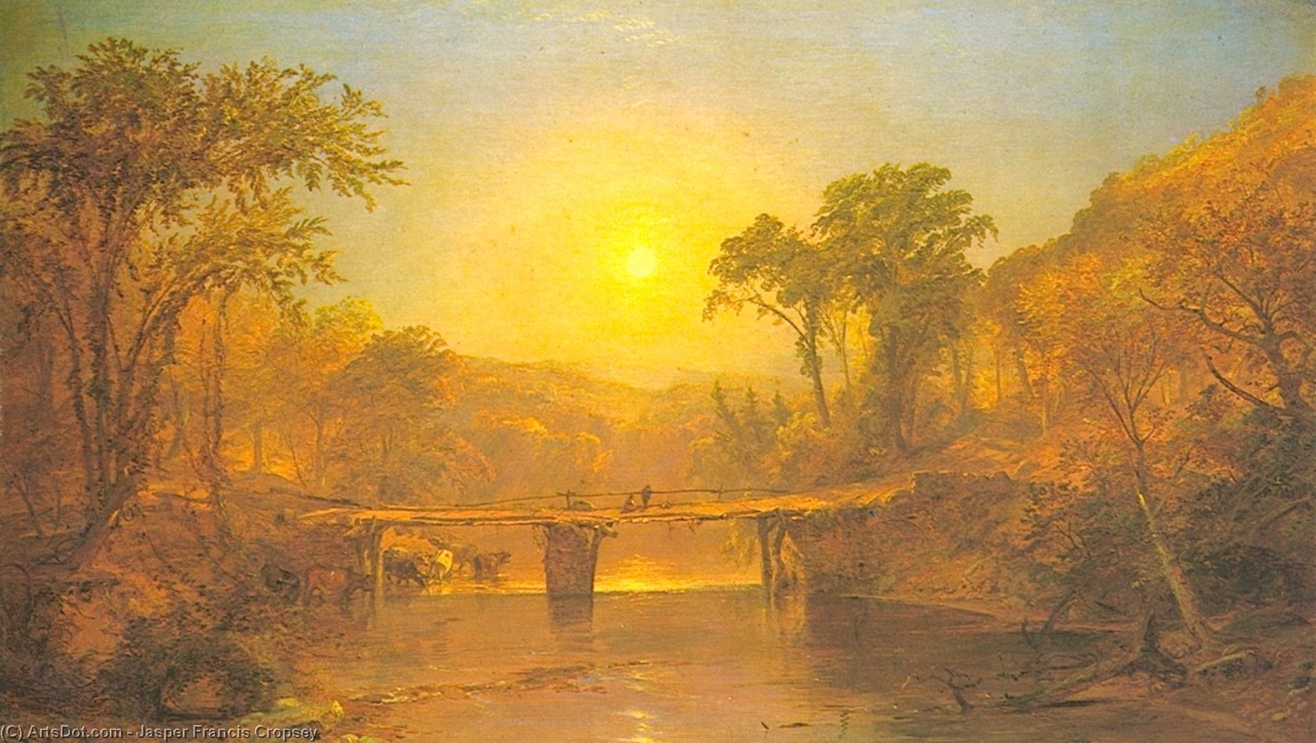 Indian Summer on the Delaware River, Oil On Canvas by Jasper Francis Cropsey (1823-1900, United States)