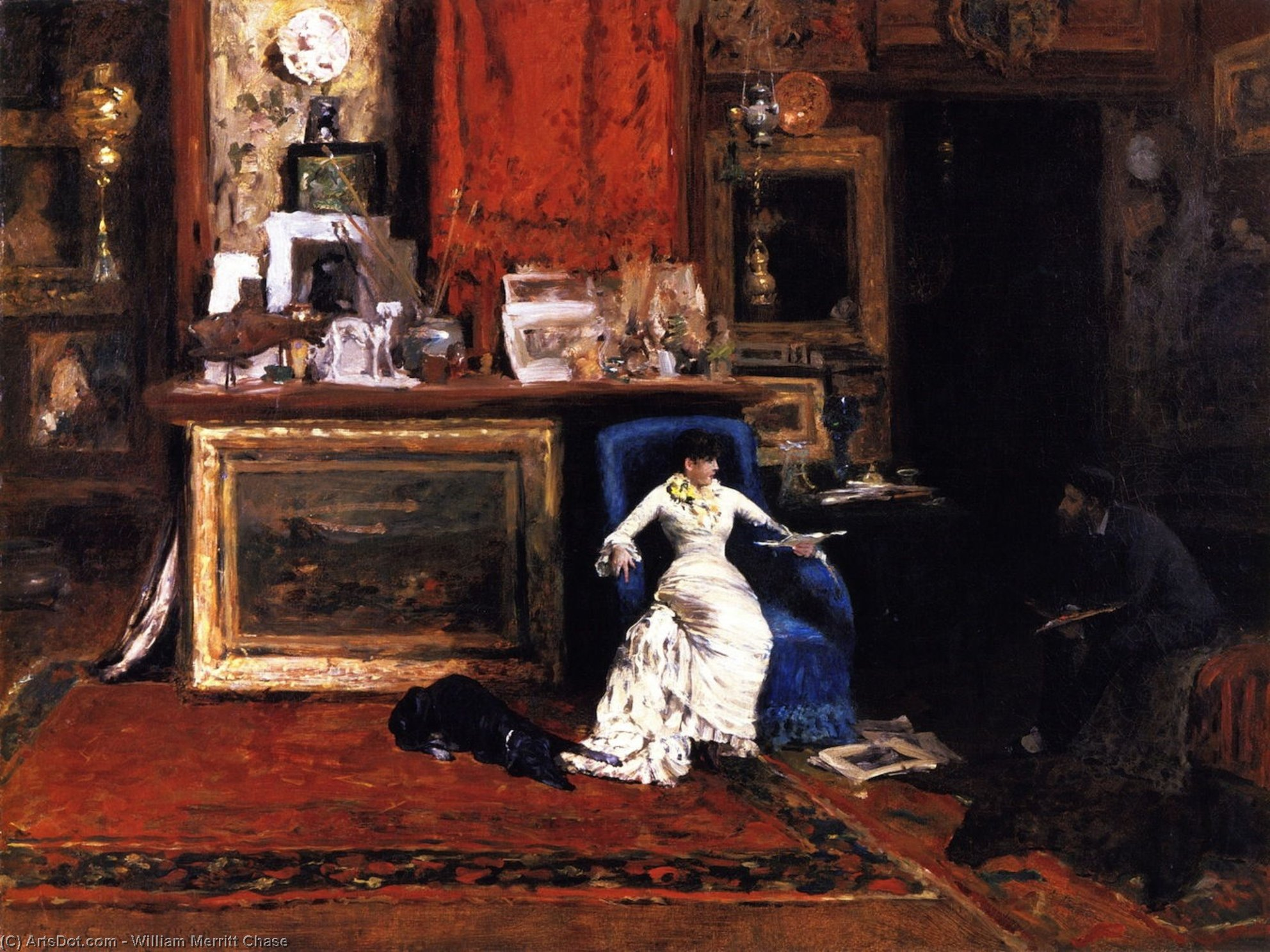 Interior of the Artist's Studio (also known as The Tenth Street Studio), Oil On Canvas by William Merritt Chase (1849-1916, United States)