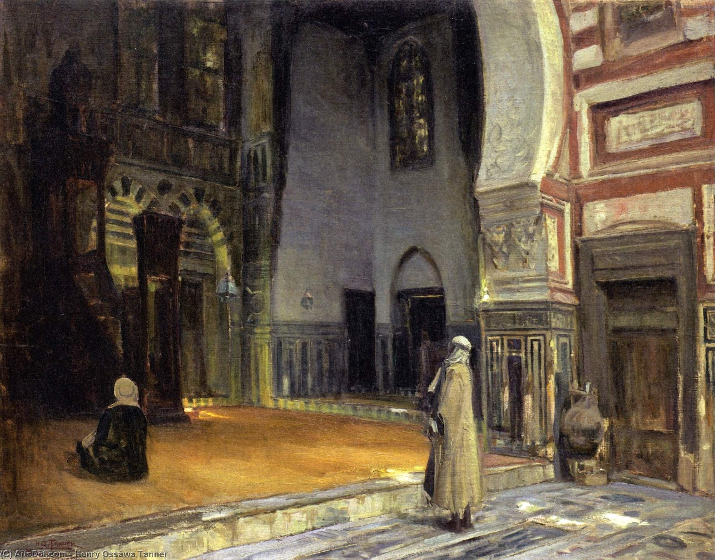 Interior of a Mosque, Cairo, Oil On Canvas by Henry Ossawa Tanner (1859-1937, United States)