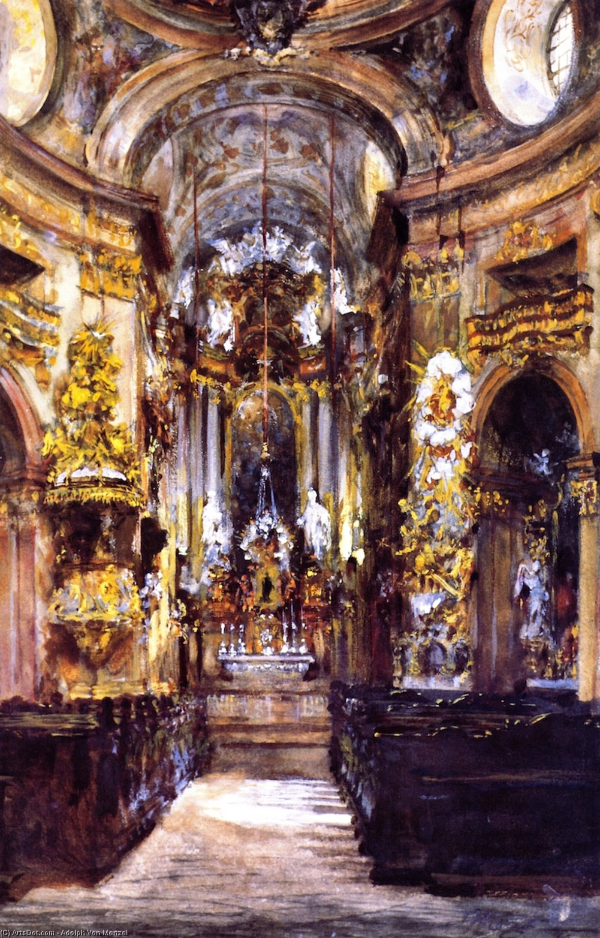 Interior of Saint Peter's Church in Vienna, Frescoes by Adolph Menzel (1815-1905, Poland)