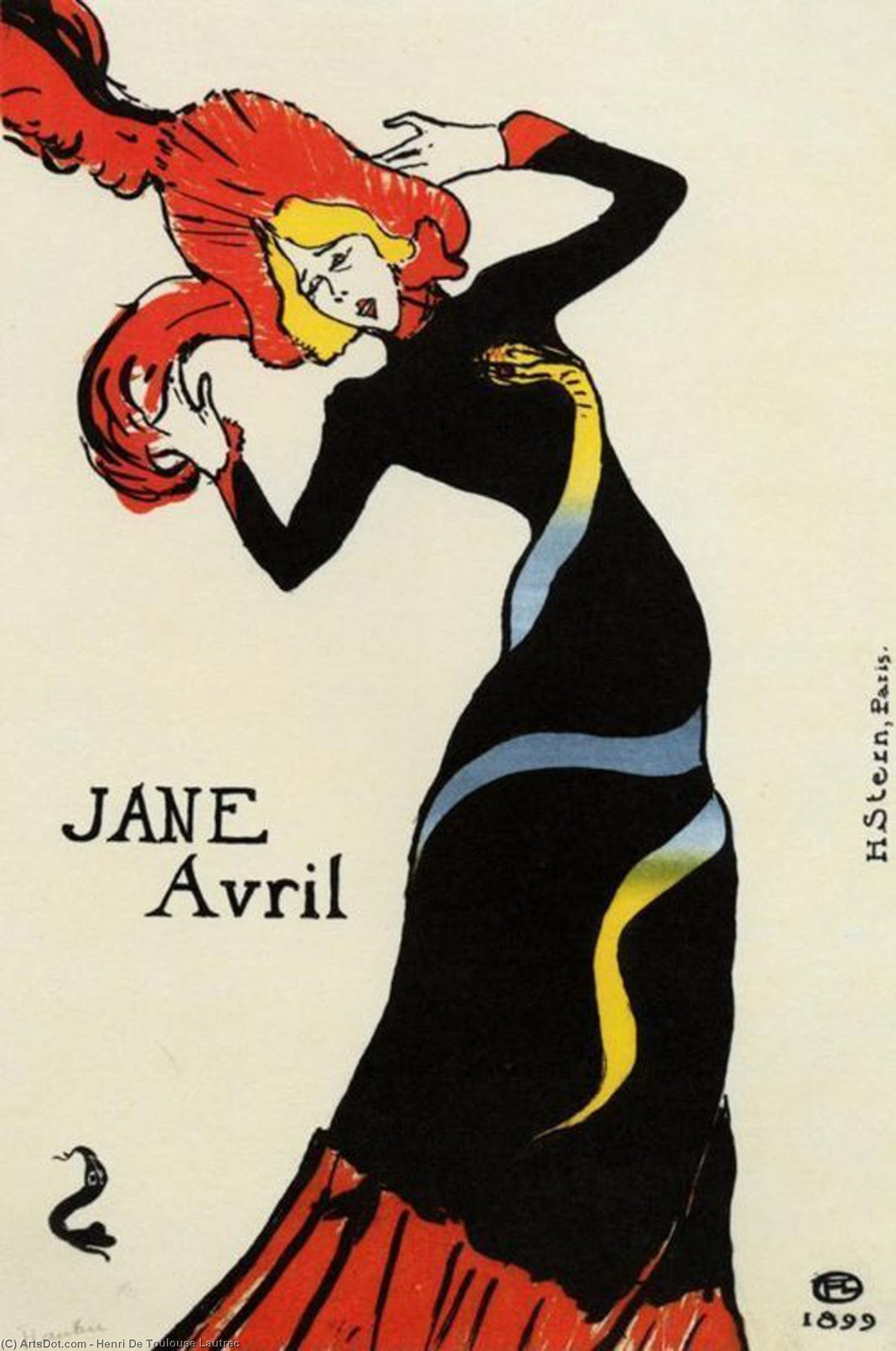 Jane Avril, 1899 by Henri De Toulouse Lautrec (1864-1901, France)