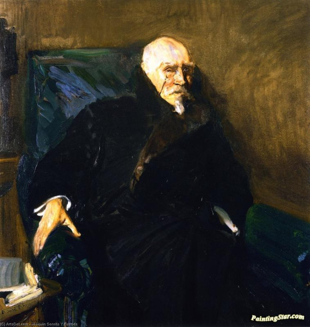 José Echegaray, Oil On Canvas by Joaquin Sorolla Y Bastida (1863-1923, Spain)
