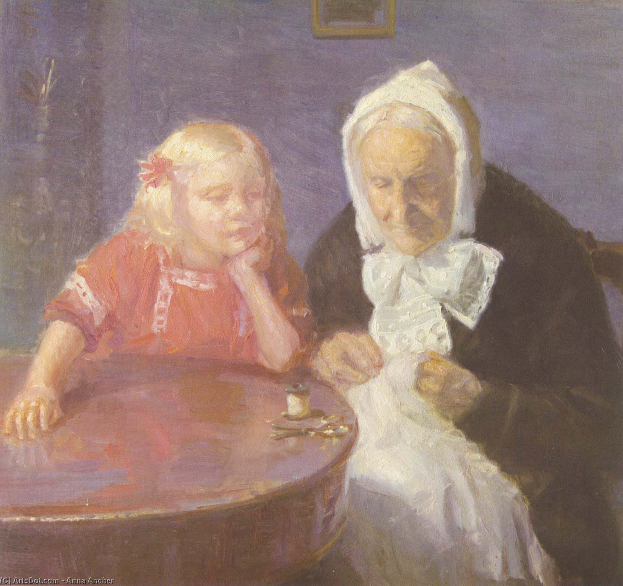 Keeping Grandma Company (also known as Grandmother Is Maintained), 1912 by Anna Kirstine Ancher (1859-1935, Denmark) | Oil Painting | ArtsDot.com
